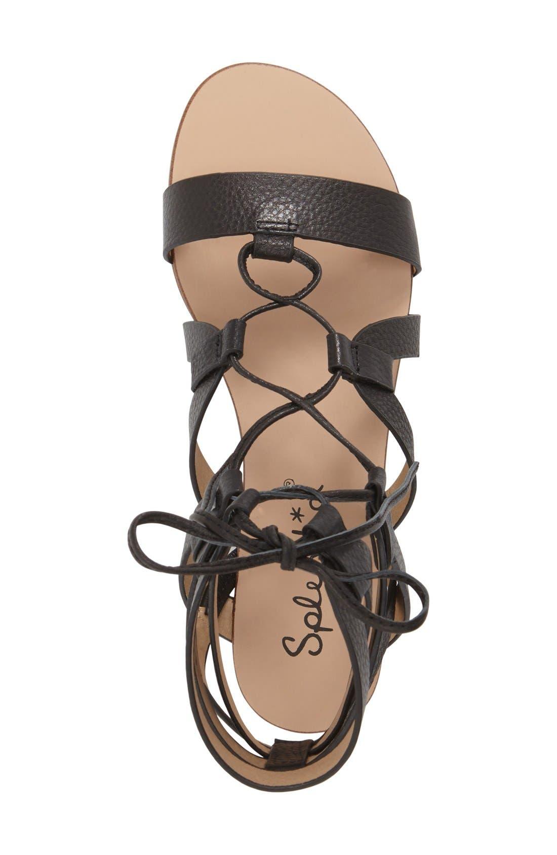SPLENDID, 'Cameron' Lace-Up Sandal, Alternate thumbnail 4, color, 001