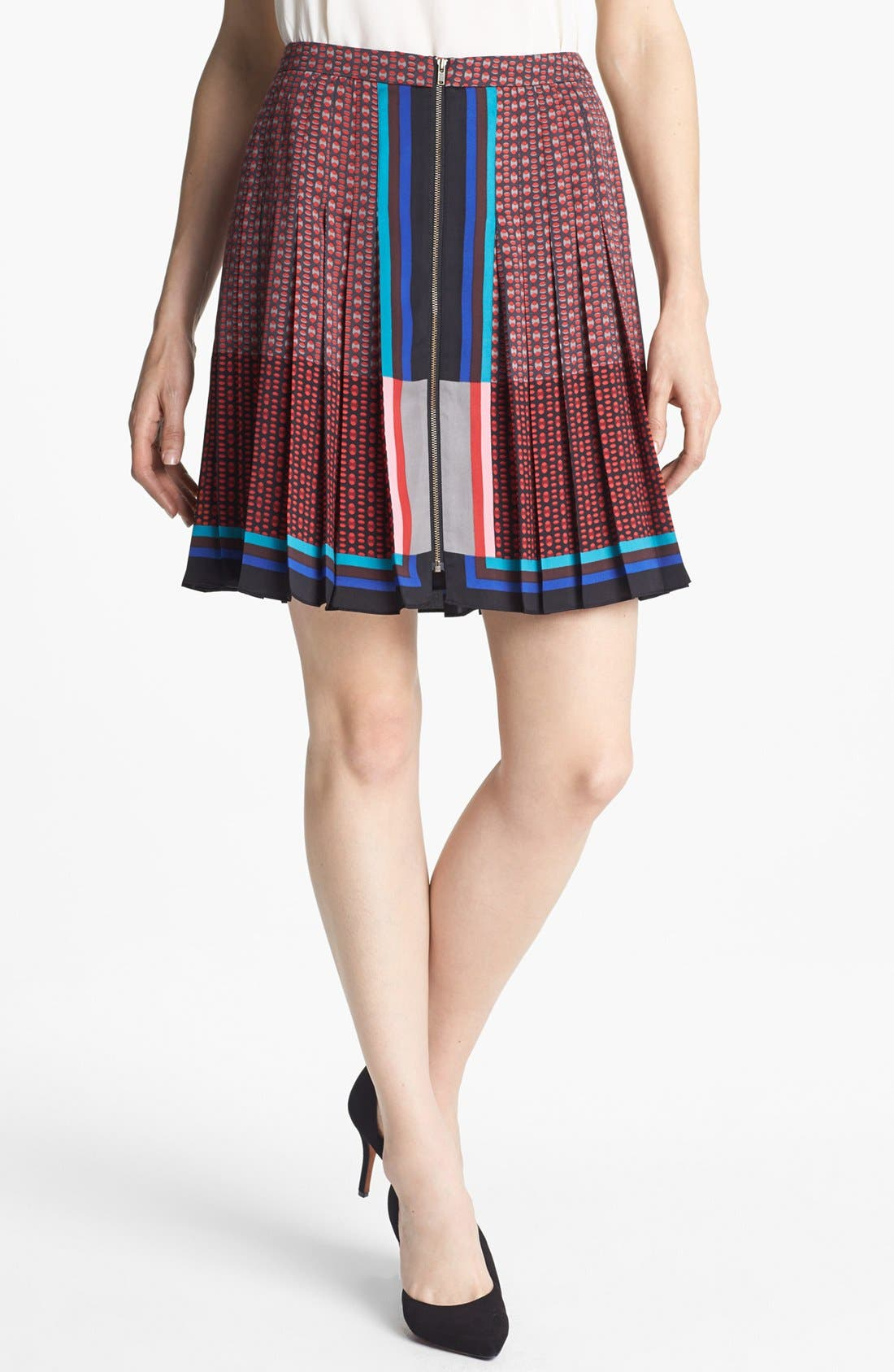 HALOGEN<SUP>®</SUP>, Front Zip Pleat Print Skirt, Main thumbnail 1, color, 600