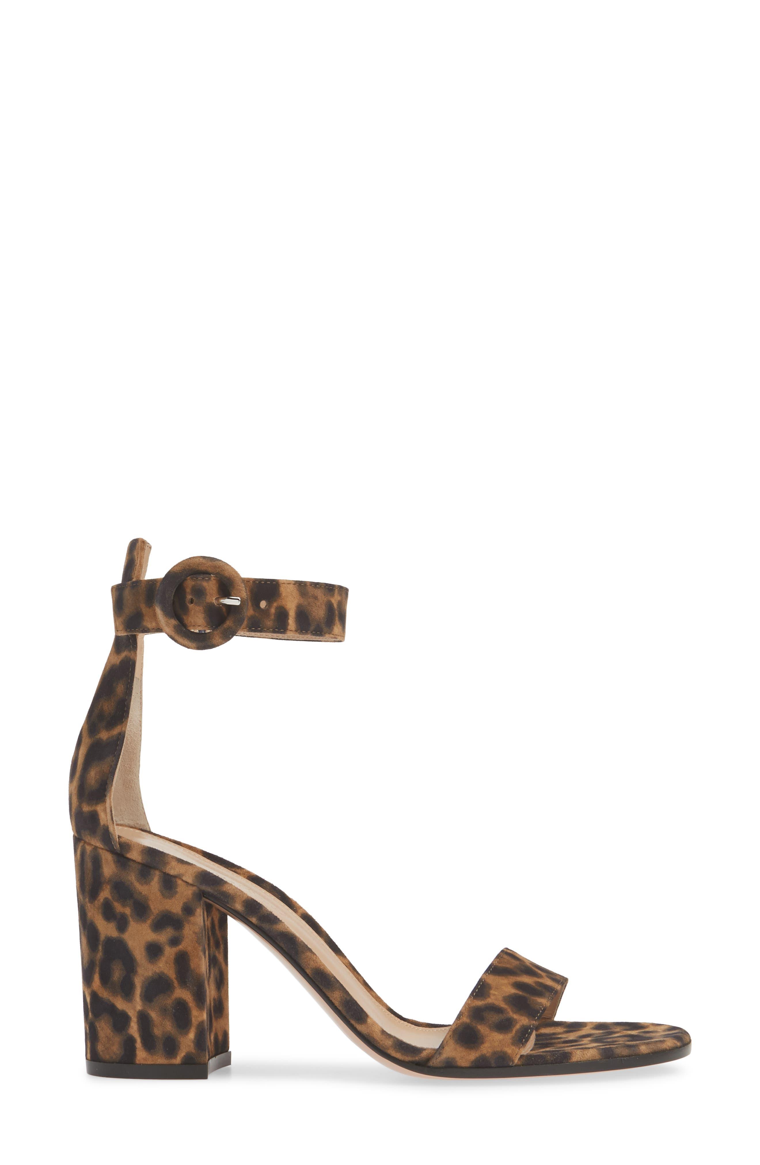 GIANVITO ROSSI, Leopard Print Ankle Strap Sandal, Alternate thumbnail 3, color, LEOPARD