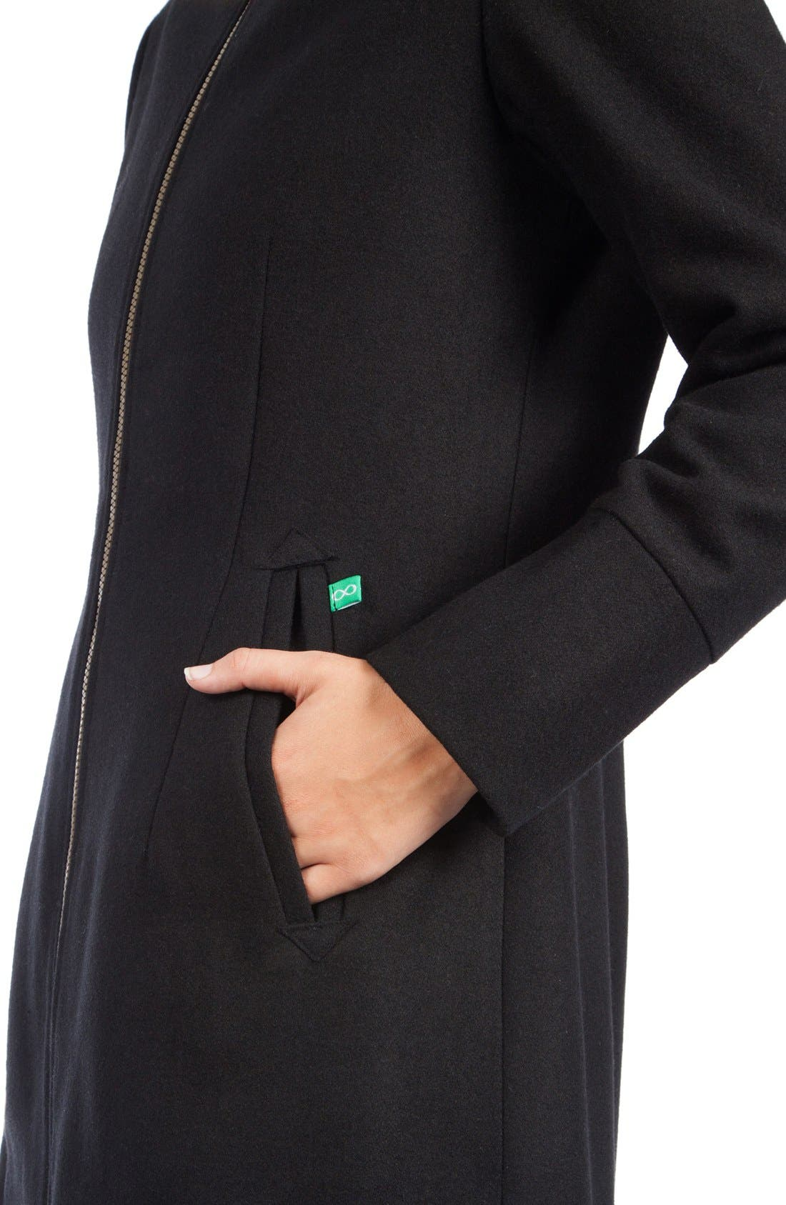 MODERN ETERNITY, Convertible 3-in-1 Maternity/Nursing Coat, Alternate thumbnail 10, color, BLACK