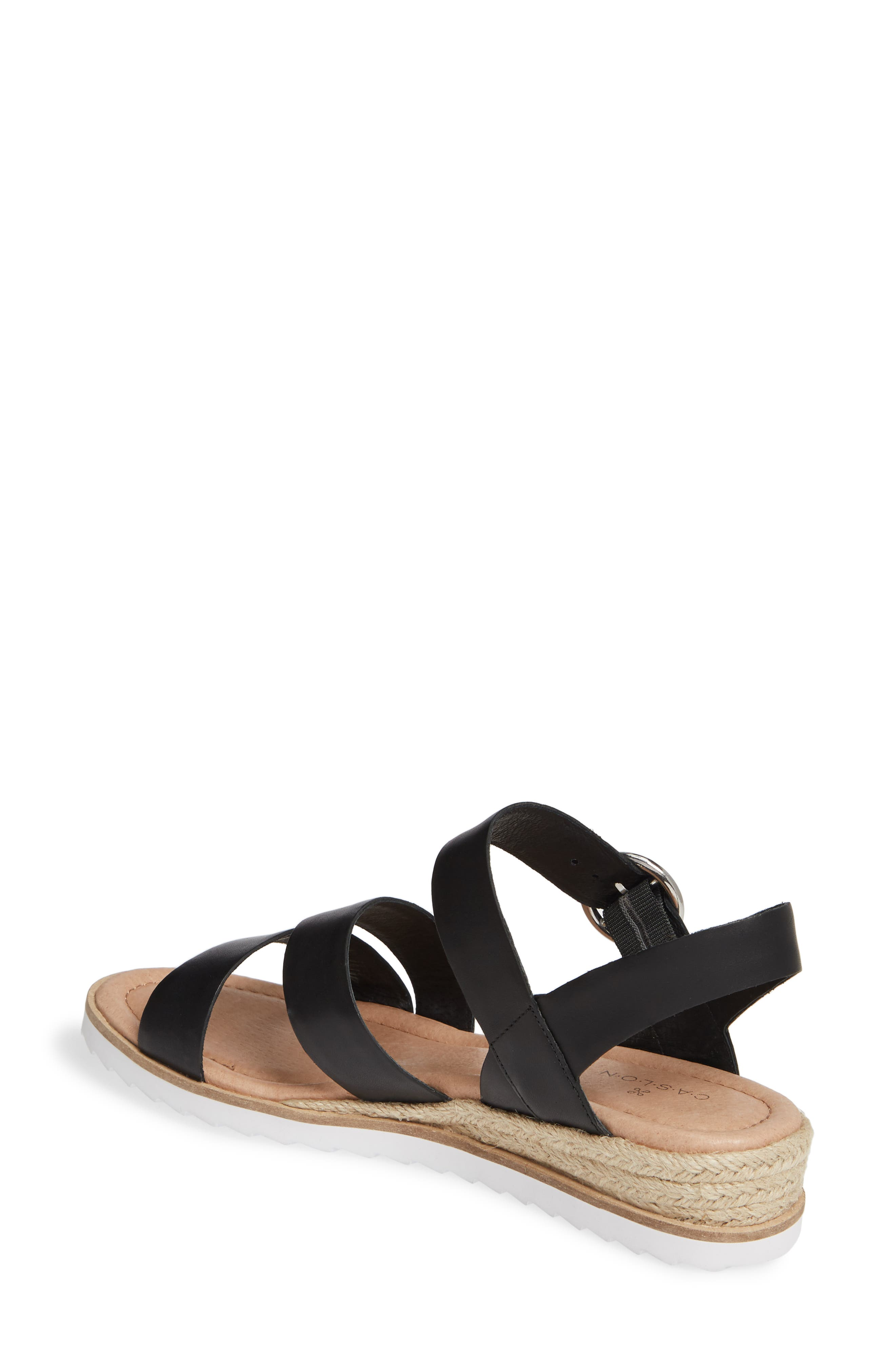 CASLON<SUP>®</SUP>, Caslon Cameron Espadrille Wedge Sandal, Alternate thumbnail 2, color, BLACK LEATHER
