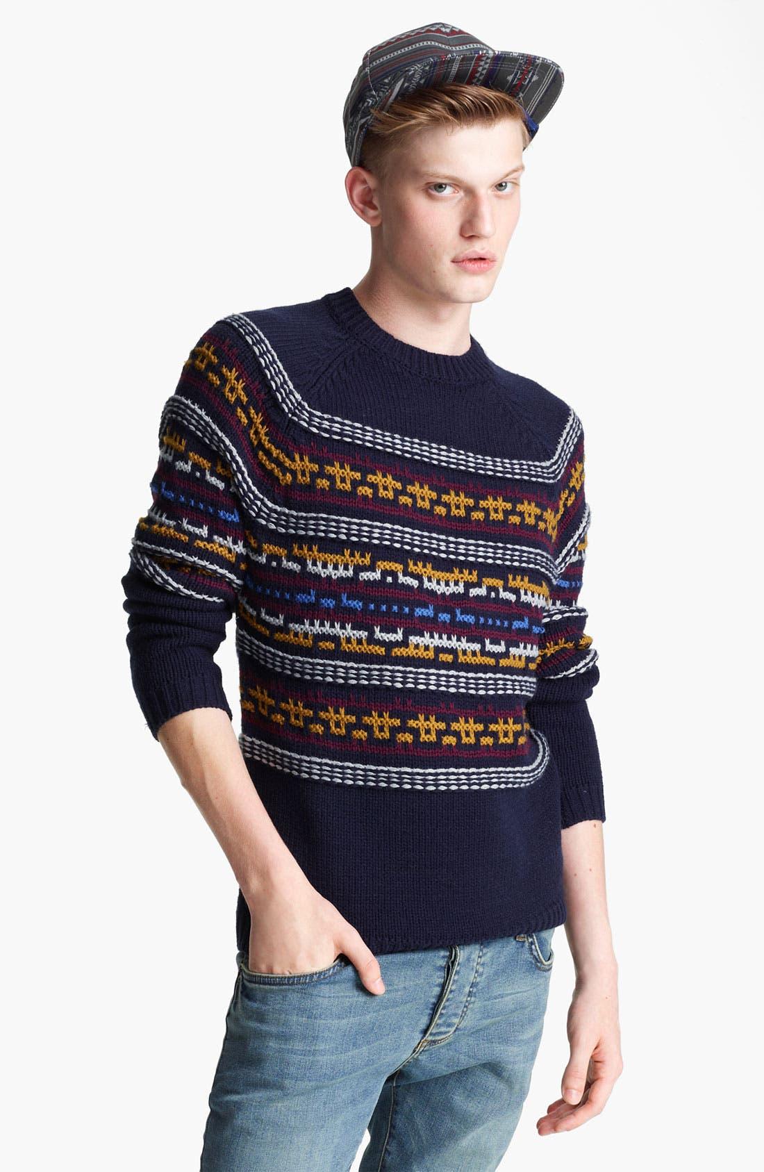 TOPMAN 'Computer Pattern' Crewneck Sweater, Main, color, 410