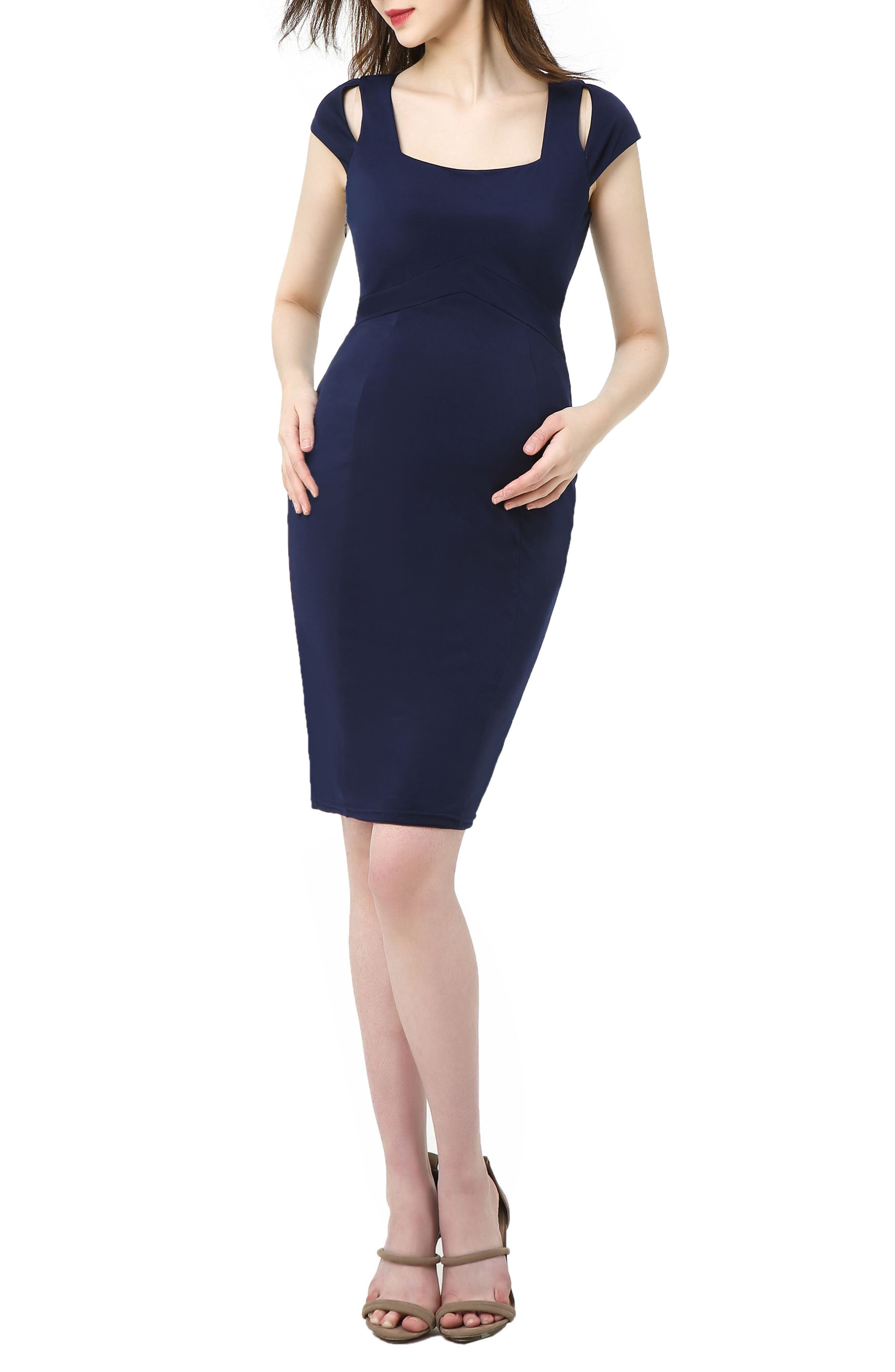 Kimi And Kai Julie Cold Shoulder Body-Con Maternity Dress, Blue