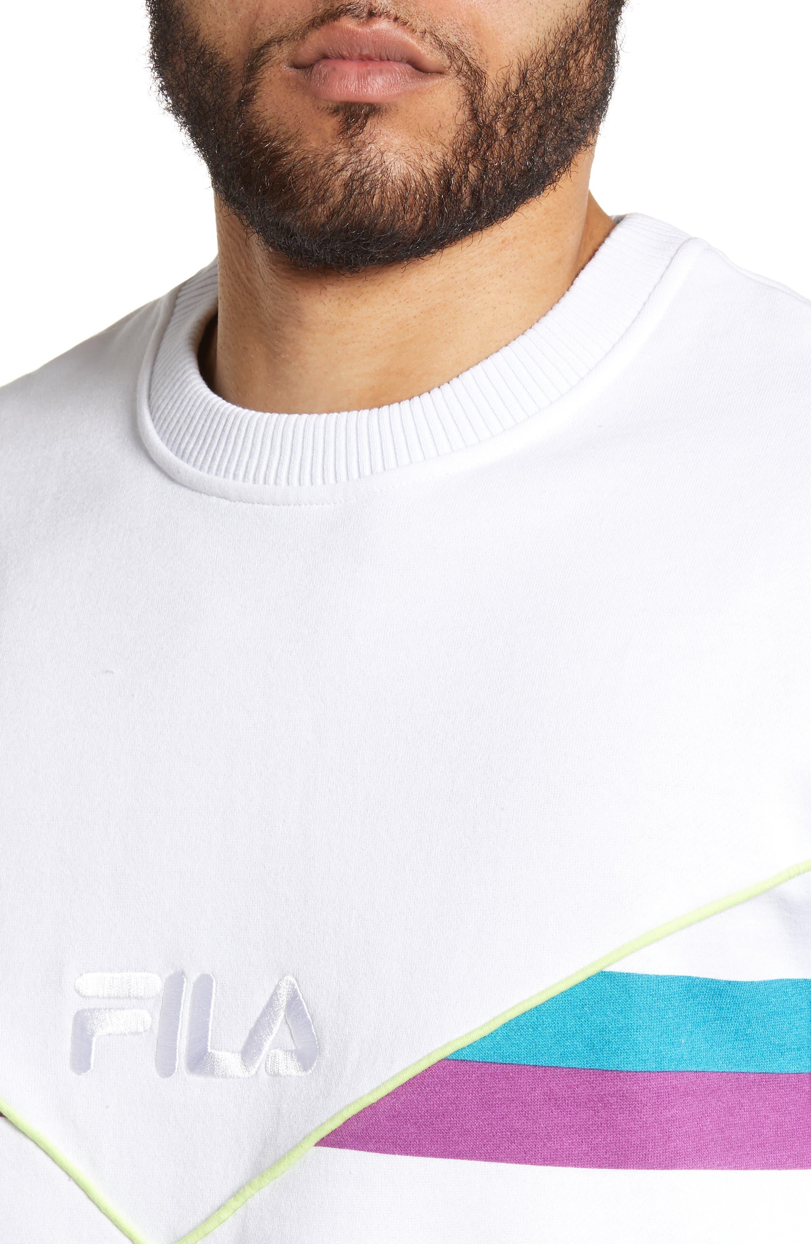 FILA, Leroy Chevron Sweatshirt, Alternate thumbnail 4, color, WHITE