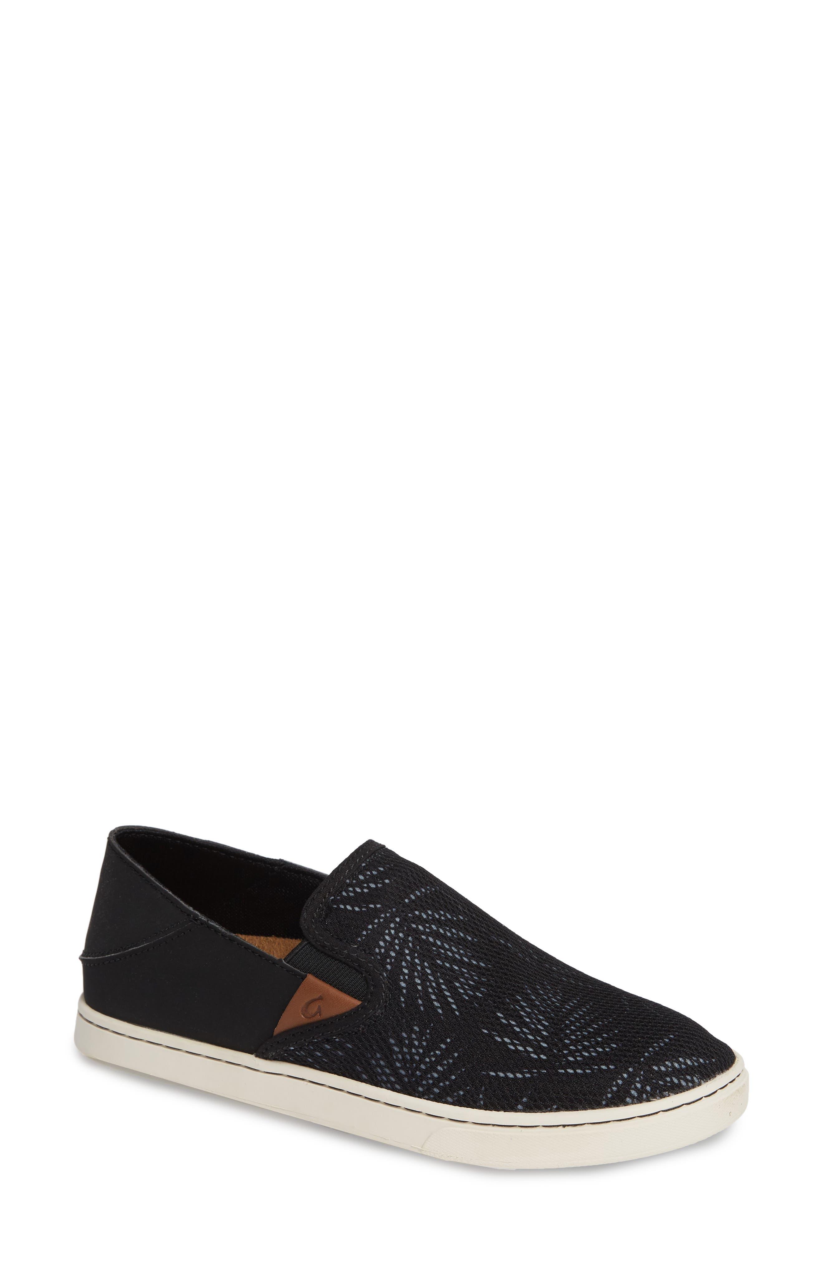 OLUKAI, 'Pehuea' Slip-On Sneaker, Main thumbnail 1, color, BLACK/ PALM FABRIC