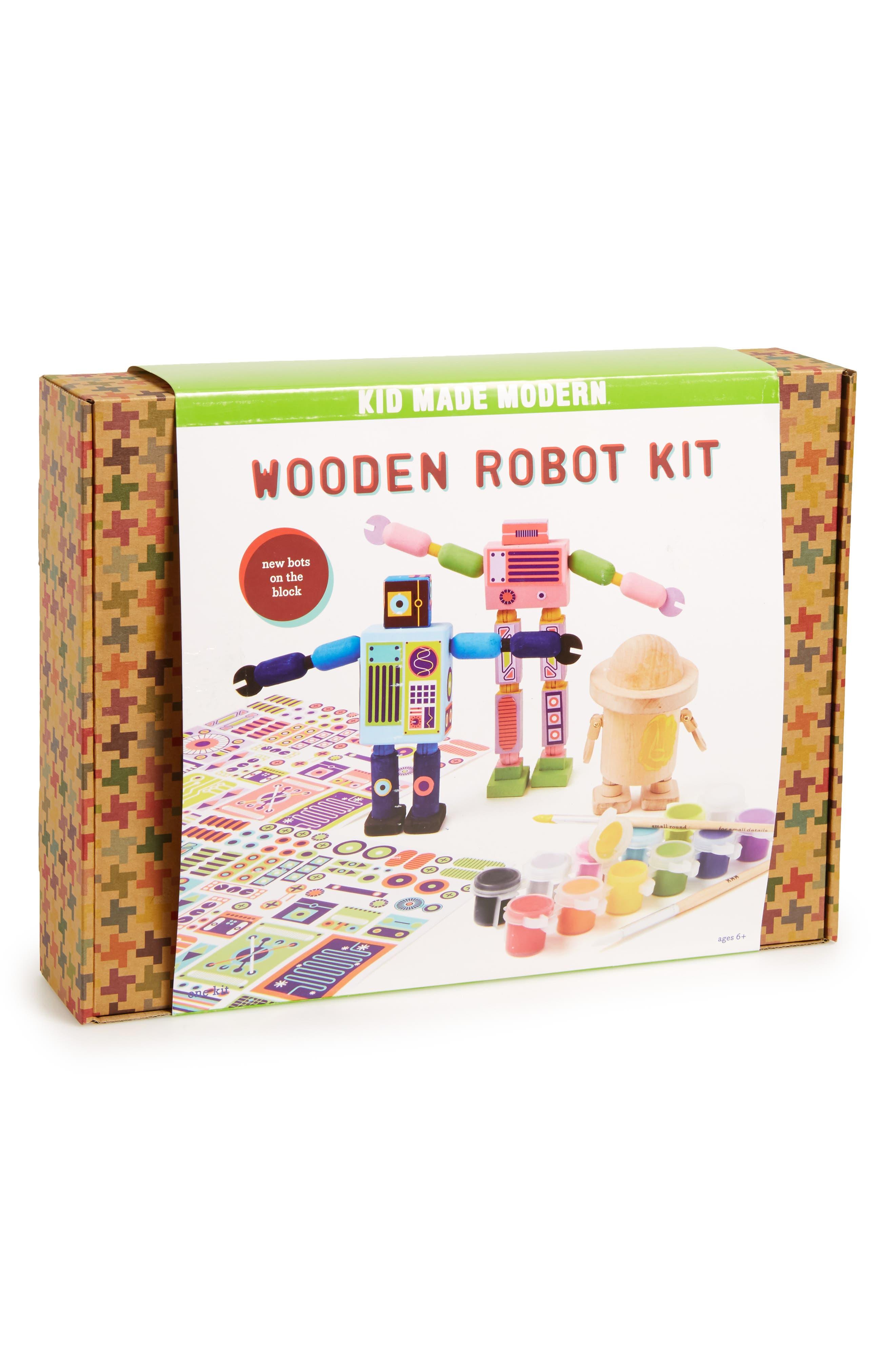 KID MADE MODERN, Wooden Robot Kit, Main thumbnail 1, color, 100
