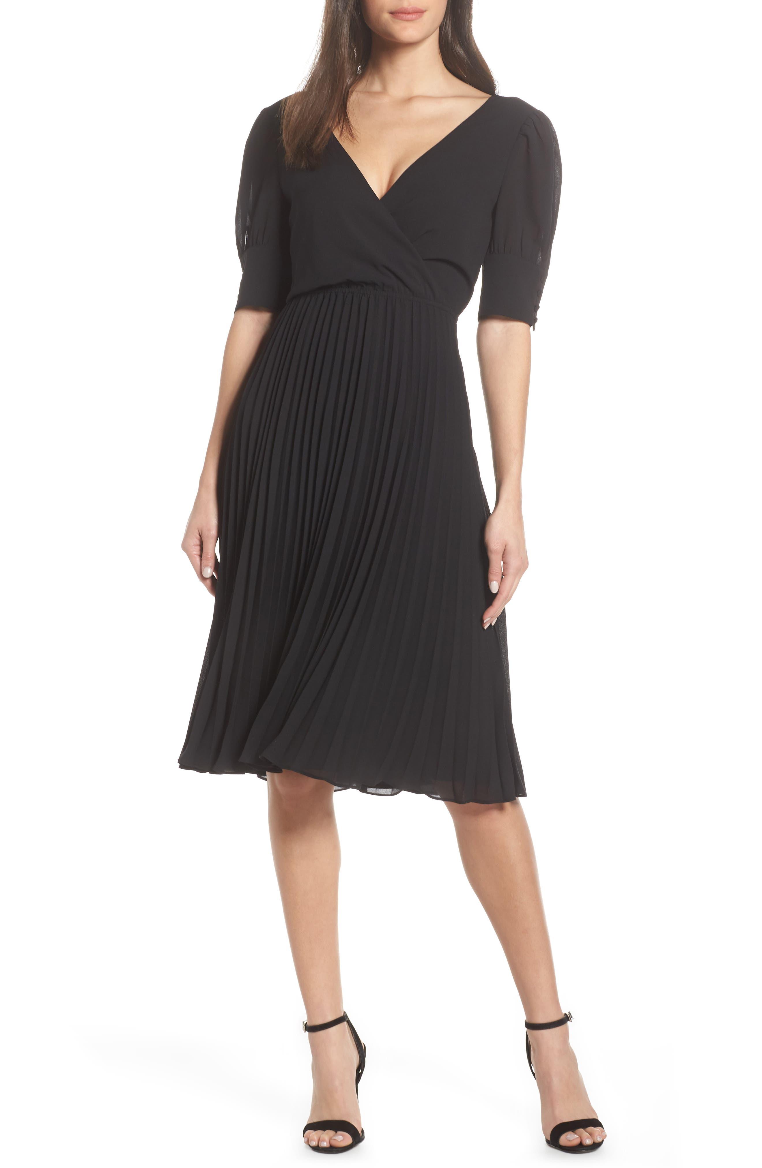 ALI & JAY Angles Flight Chiffon Fit & Flare Dress, Main, color, BLACK