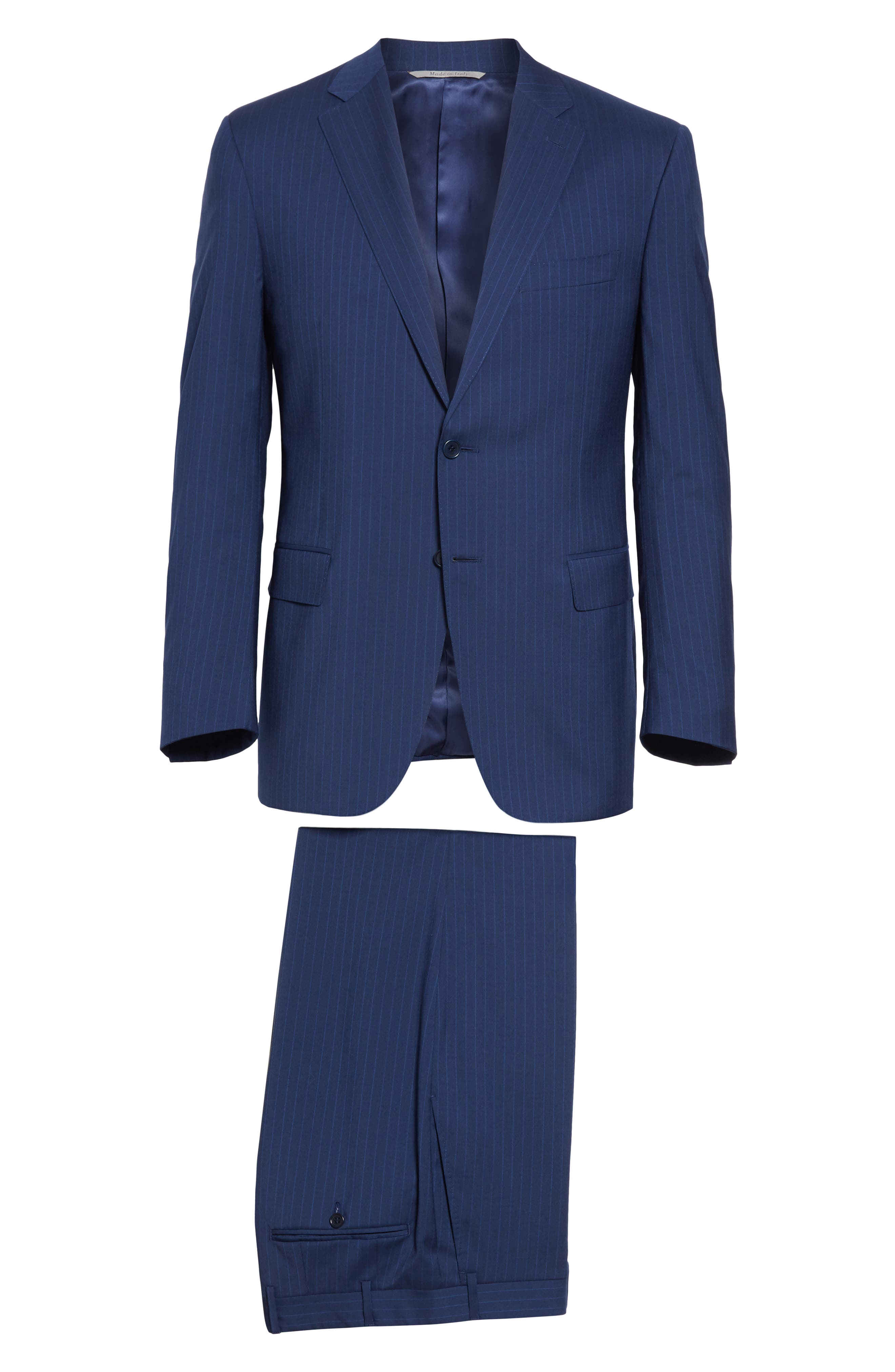 CANALI, Sienna Classic Fit Stripe Wool Suit, Alternate thumbnail 8, color, BLUE