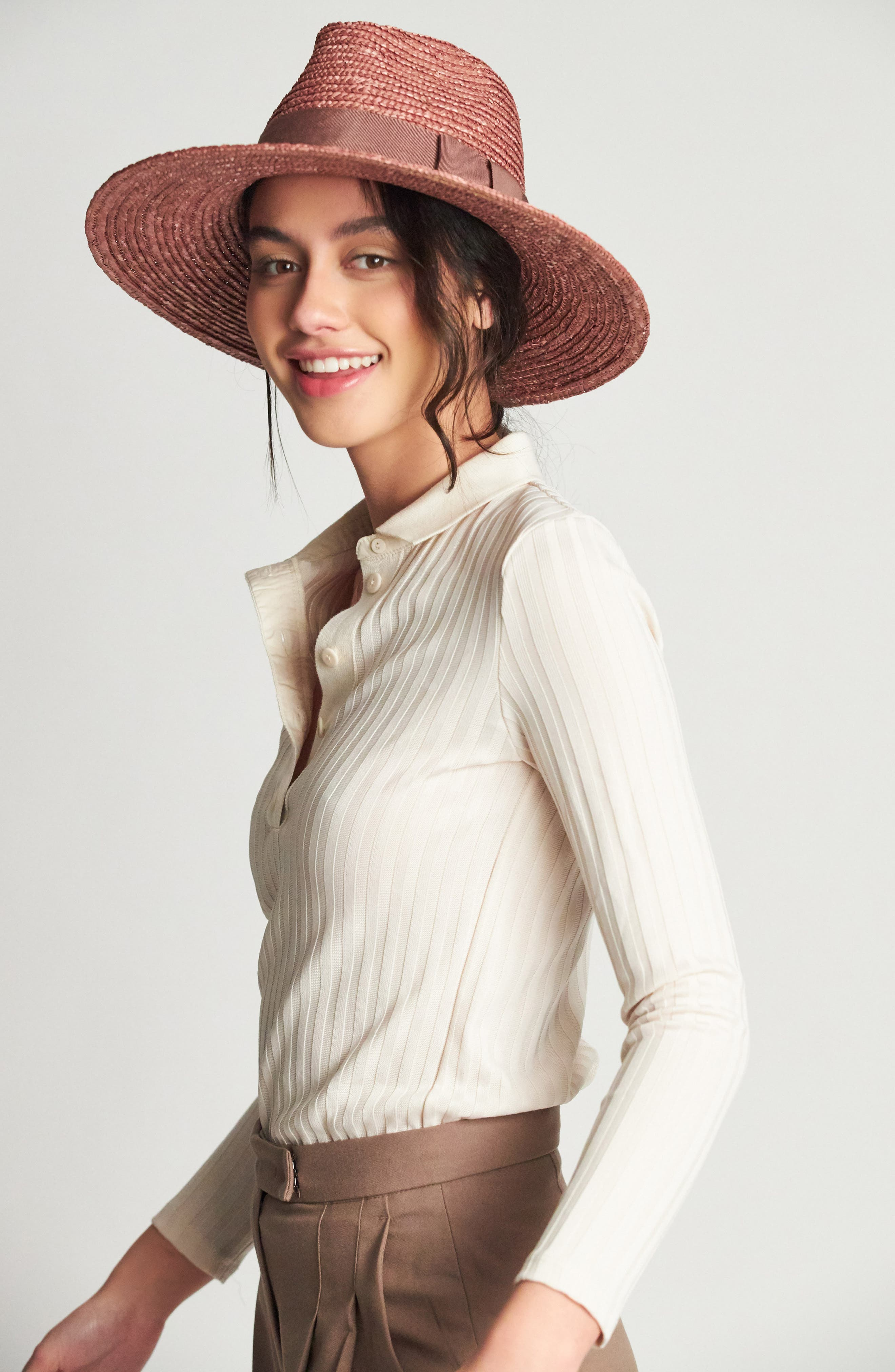 BRIXTON, 'Joanna' Straw Hat, Alternate thumbnail 2, color, LILAC