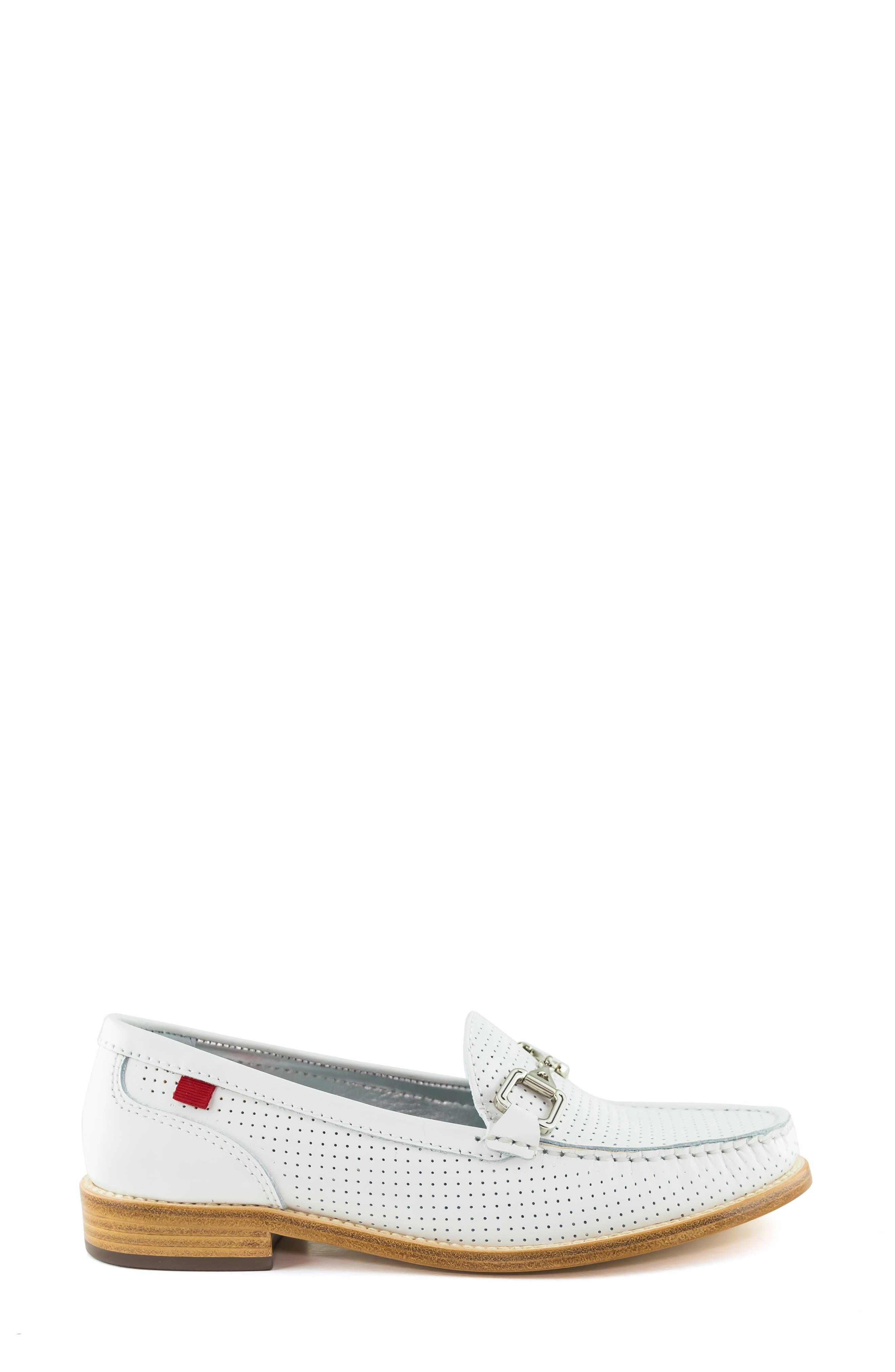 MARC JOSEPH NEW YORK, Park Ave Perforated Loafer, Alternate thumbnail 3, color, WHITE LEATHER