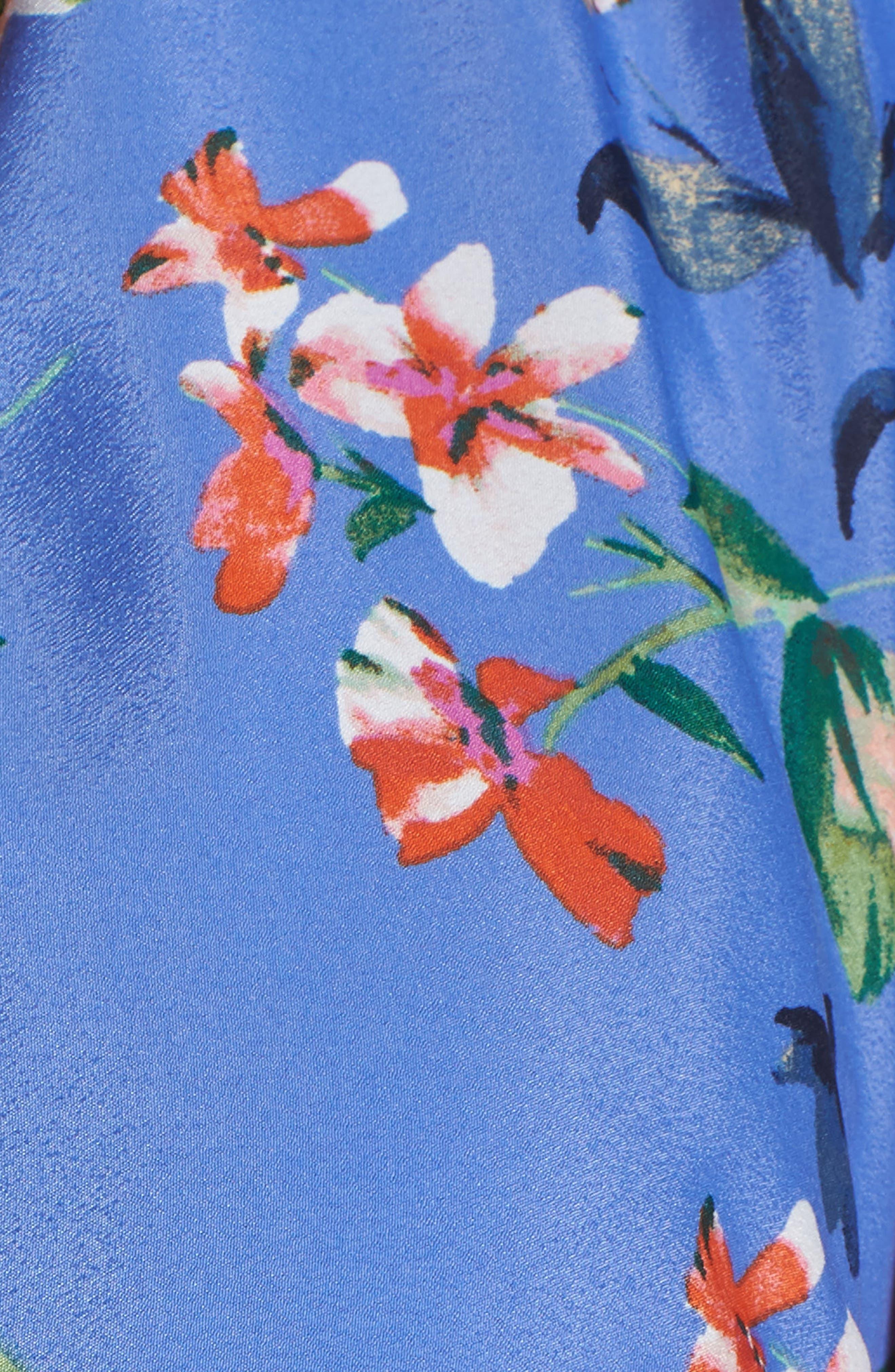 ELIZA J, Pleated Faux Wrap Dress, Alternate thumbnail 6, color, BLUE
