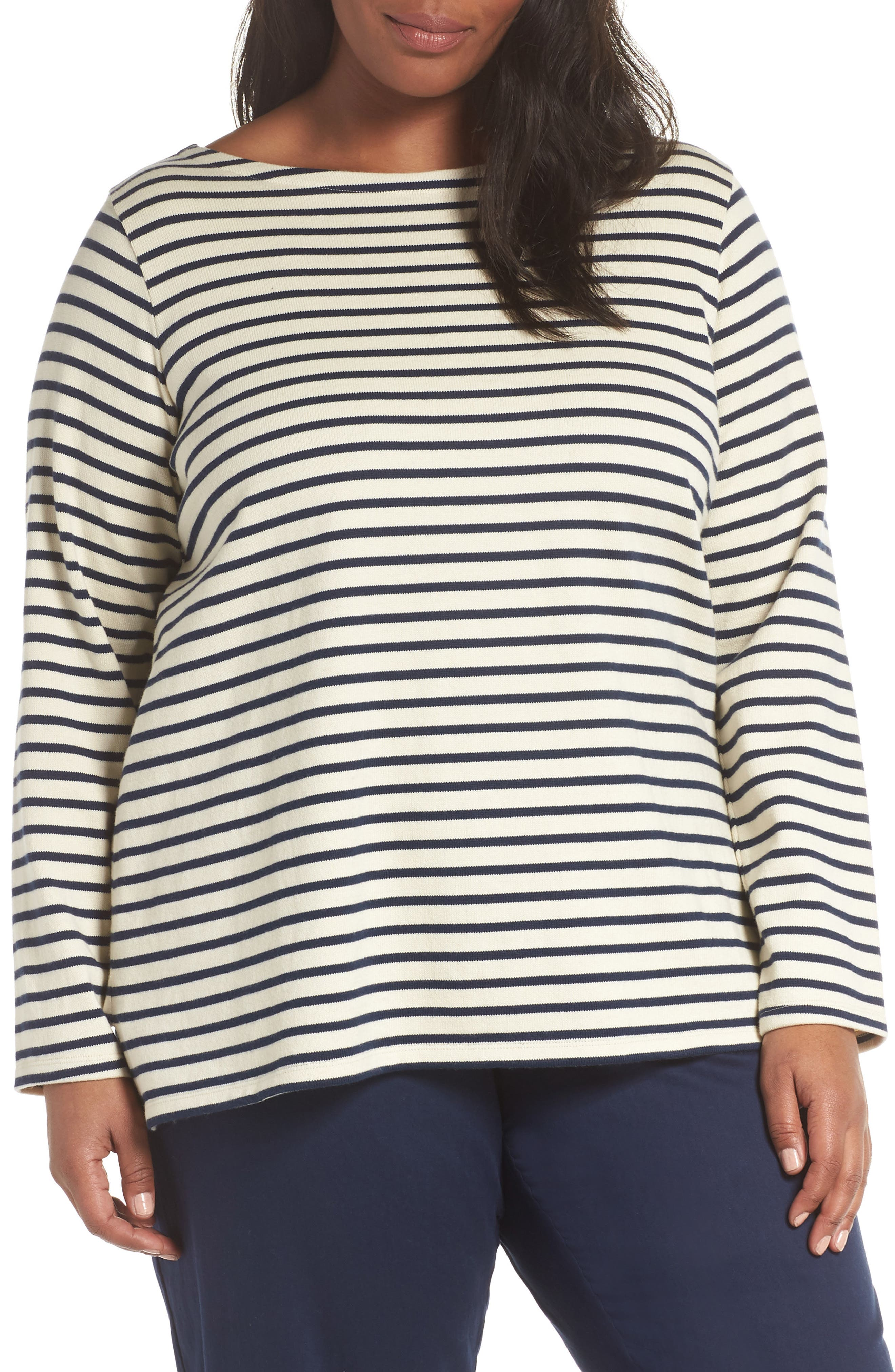 EILEEN FISHER, Seaside Stripe Bateau Neck Tunic, Main thumbnail 1, color, 103