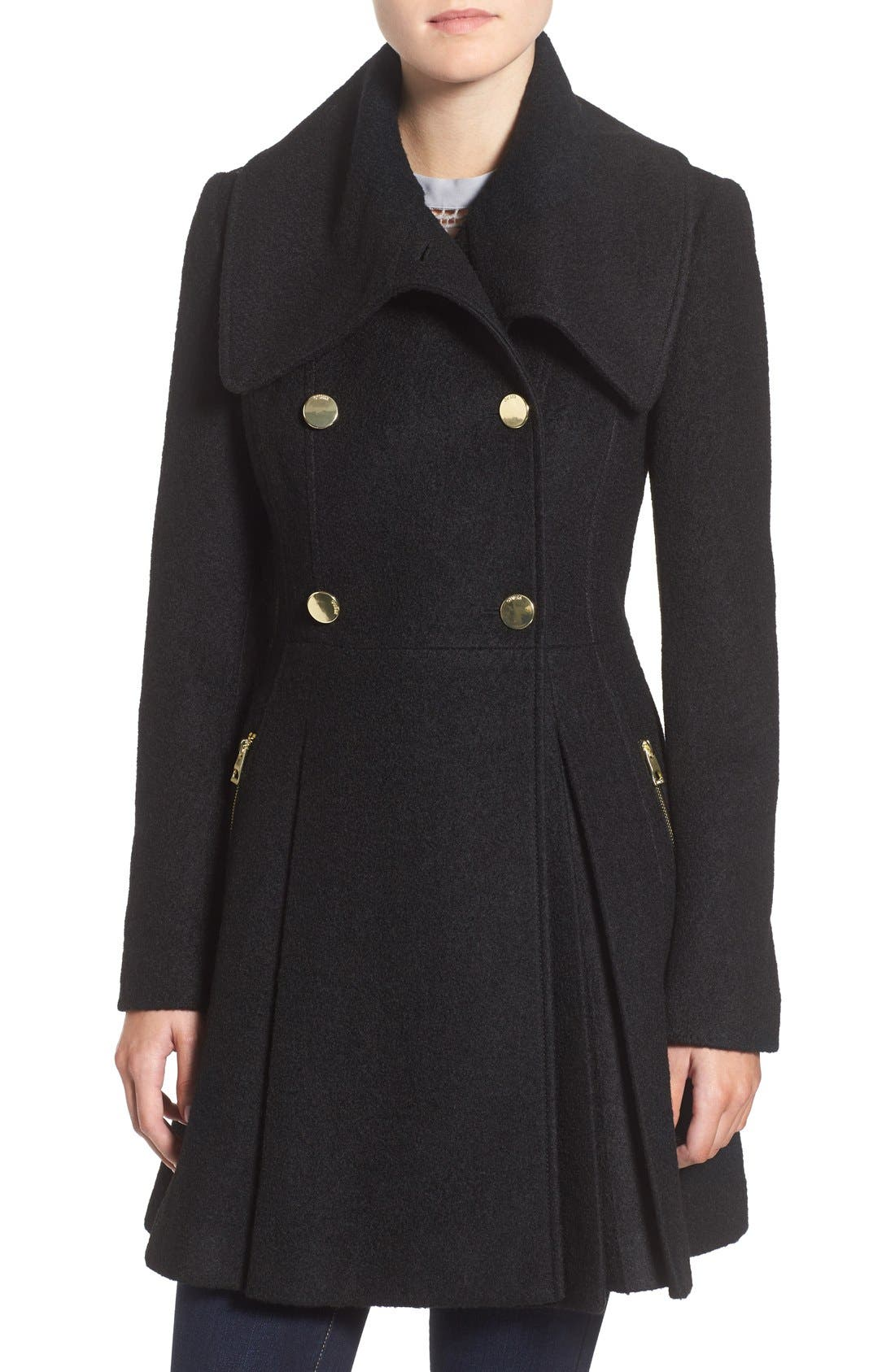 GUESS Envelope Collar Double Breasted Coat, Main, color, 001