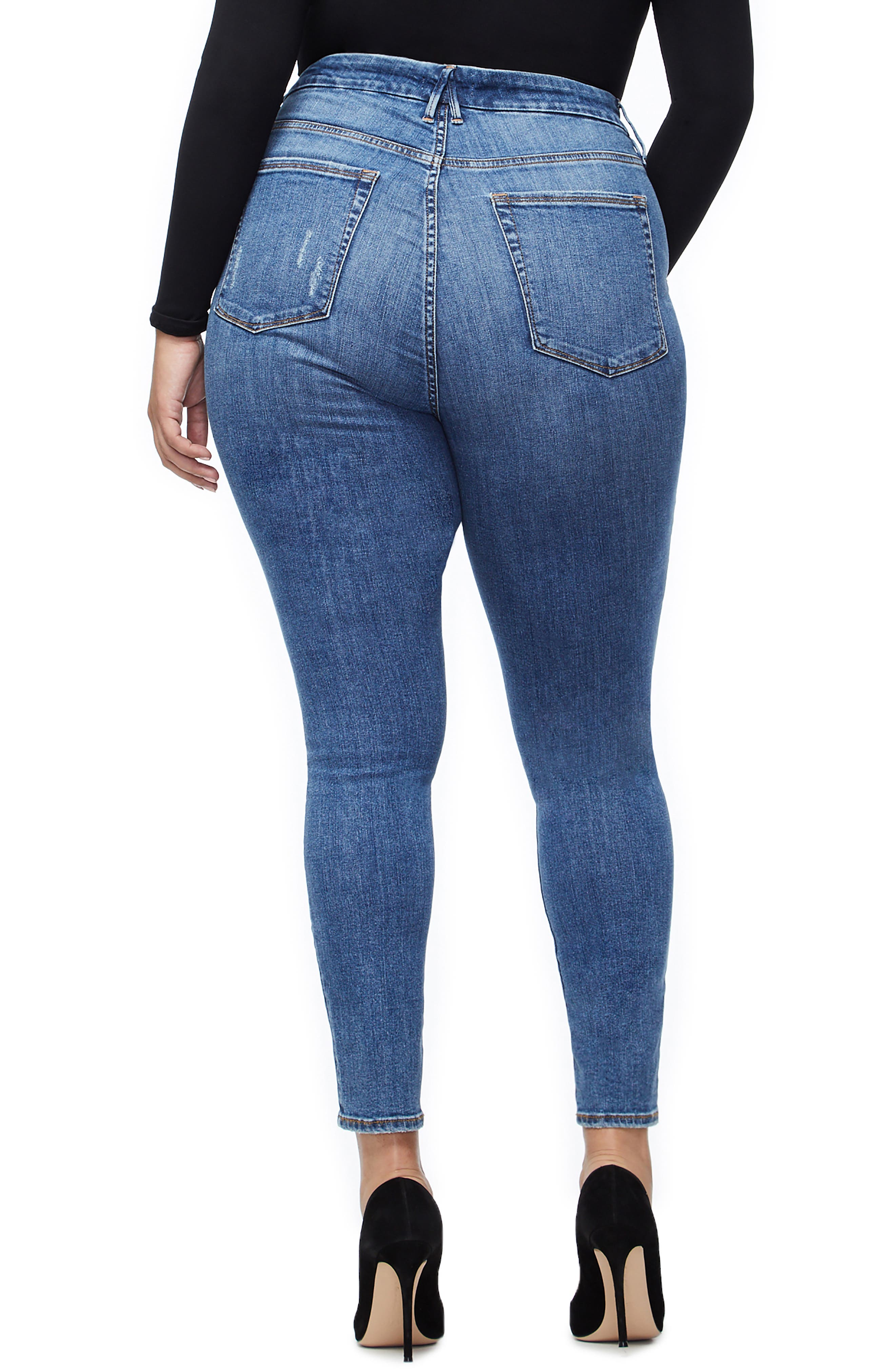 GOOD AMERICAN, Good Waist High Waist Skinny Jeans, Alternate thumbnail 6, color, BLUE213