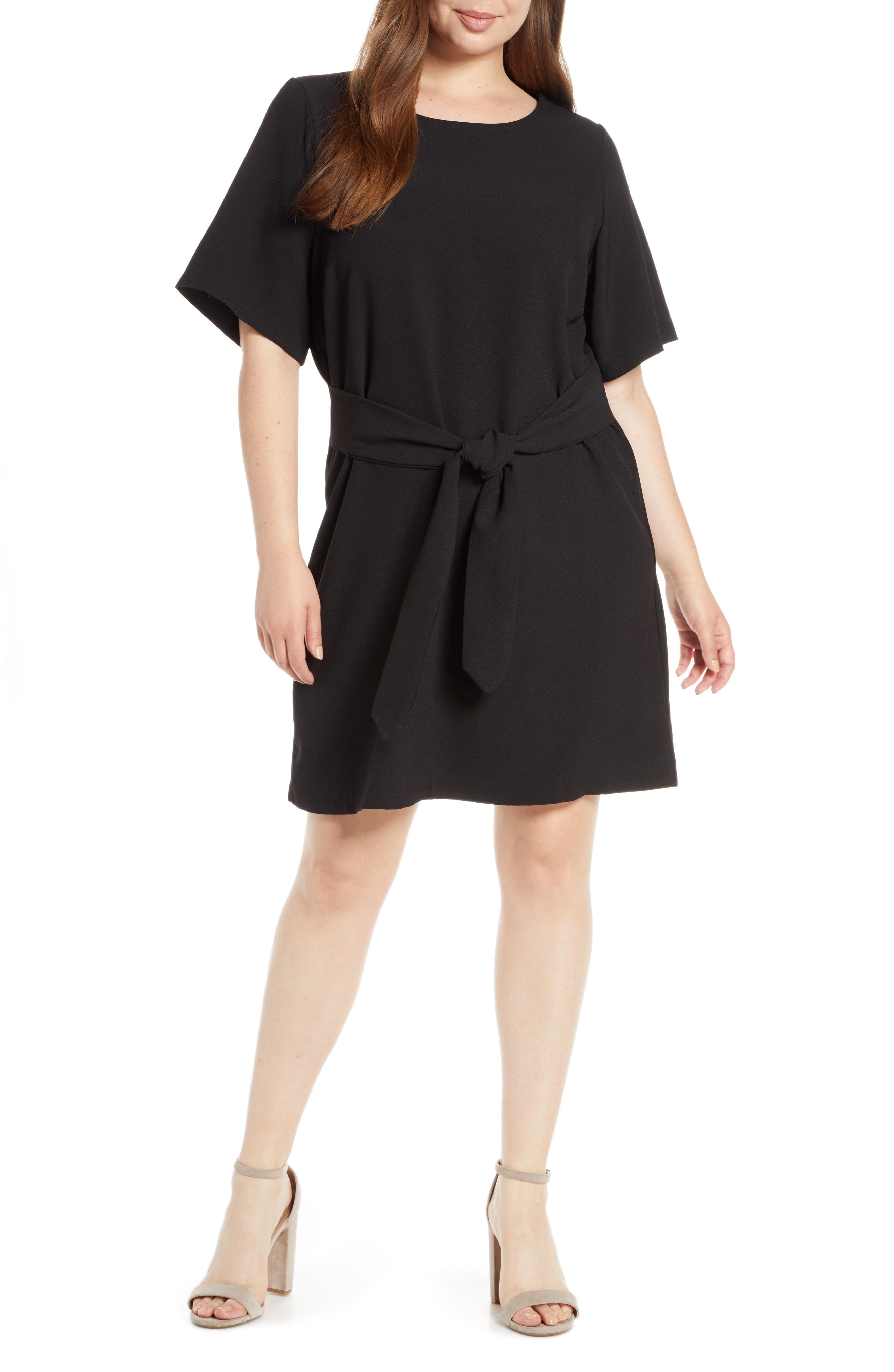 CHELSEA28, Front Tie Shift Dress, Alternate thumbnail 2, color, BLACK