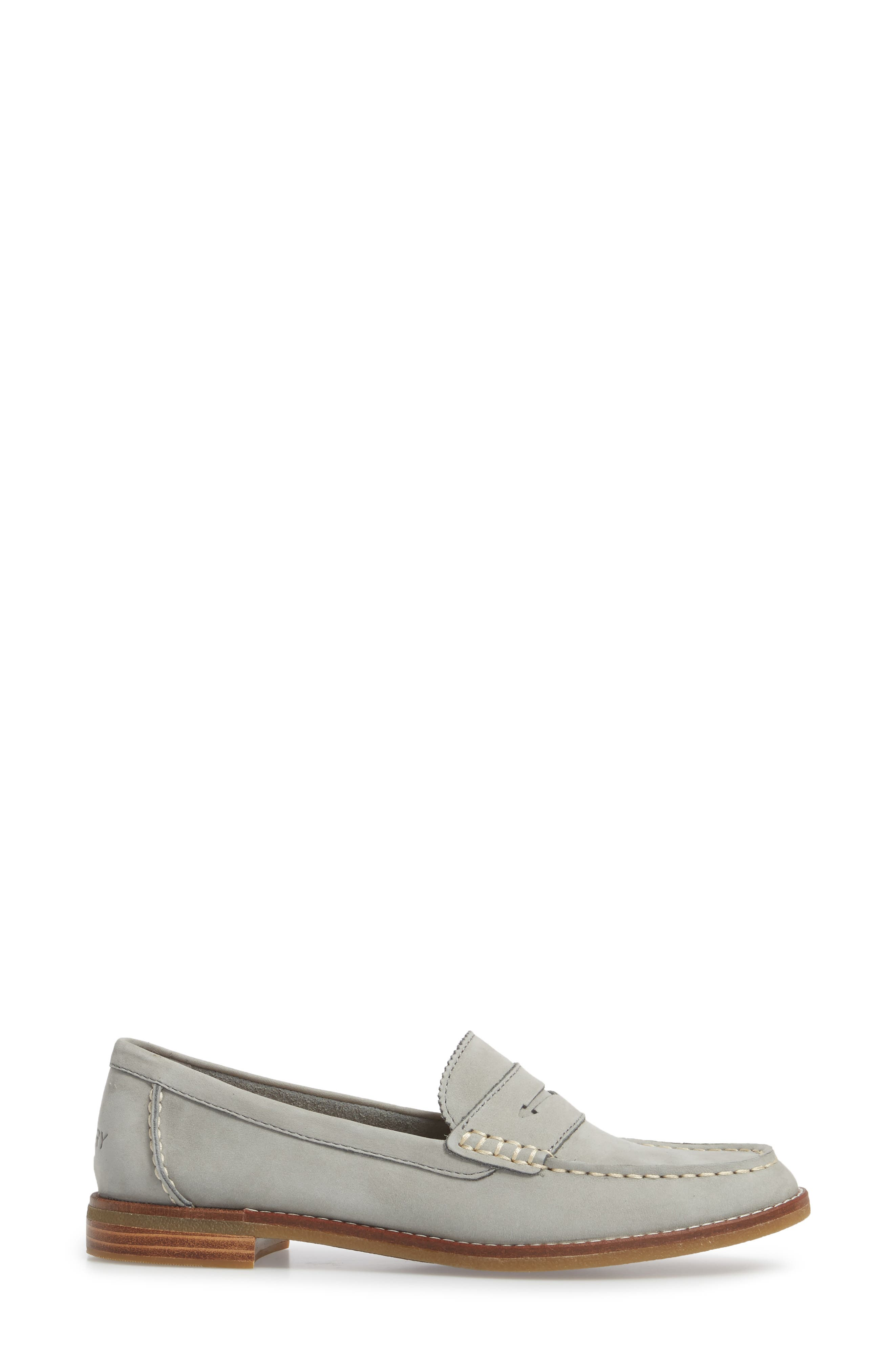 SPERRY, Seaport Penny Loafer, Alternate thumbnail 3, color, GREY LEATHER