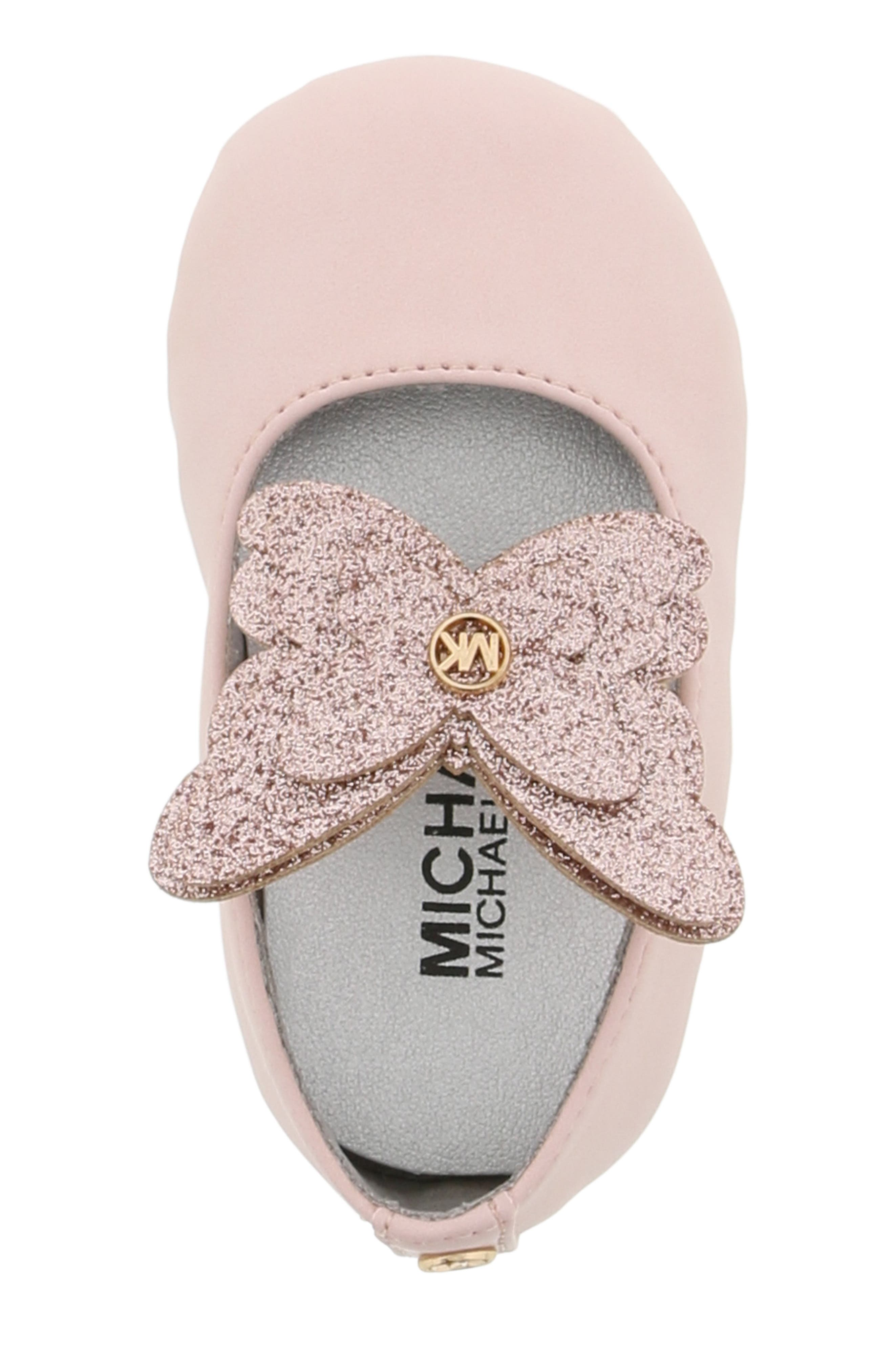 MICHAEL MICHAEL KORS, Brandee Glitter Butterfly Mary Jane, Alternate thumbnail 5, color, BLUSH
