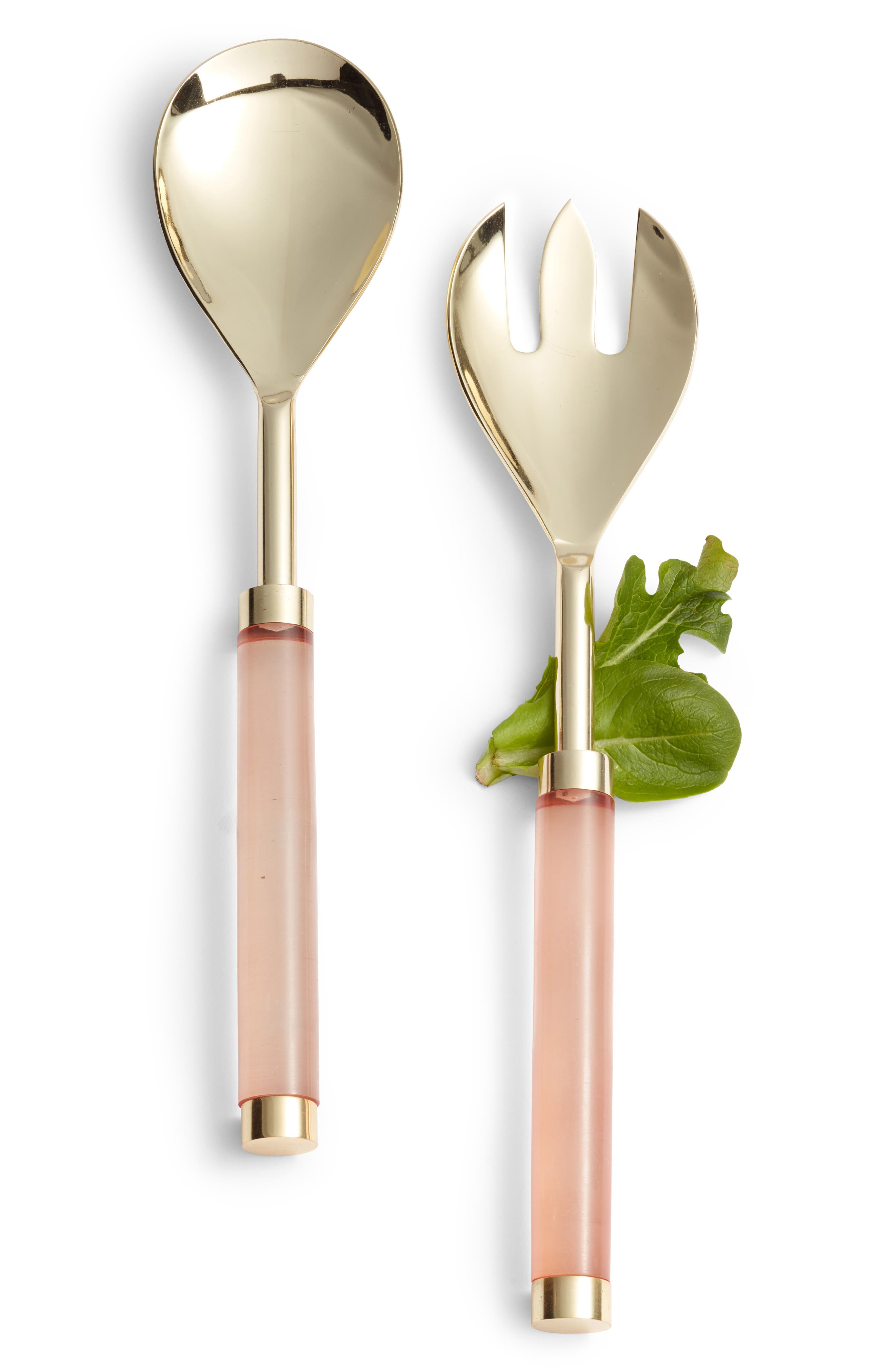 NORDSTROM AT HOME, Lucite<sup>®</sup> Handle Salad Serving Set, Main thumbnail 1, color, BRUSHED GOLD/ PINK
