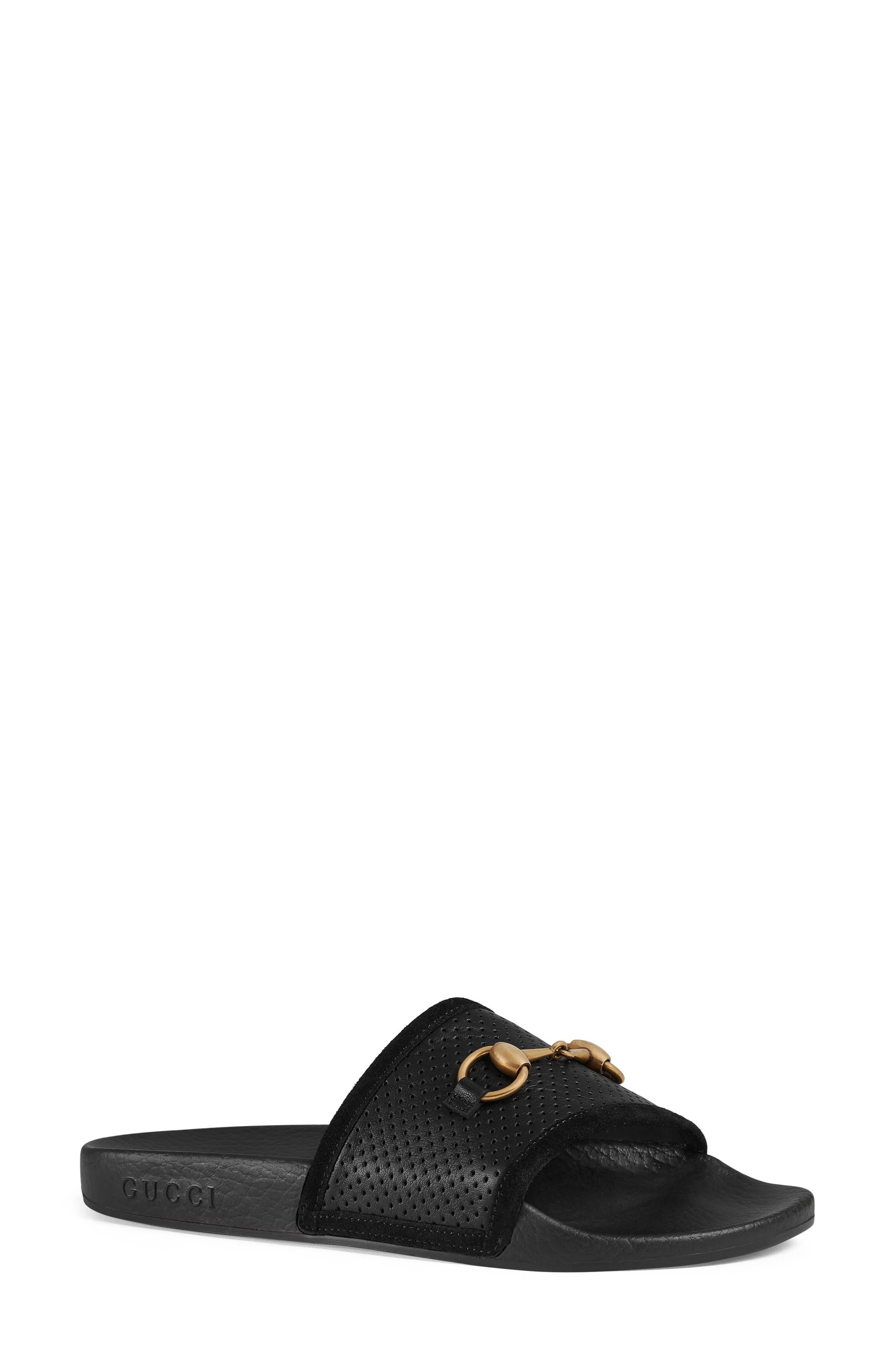 GUCCI Pursuit Horsebit Slide Sandal, Main, color, 001