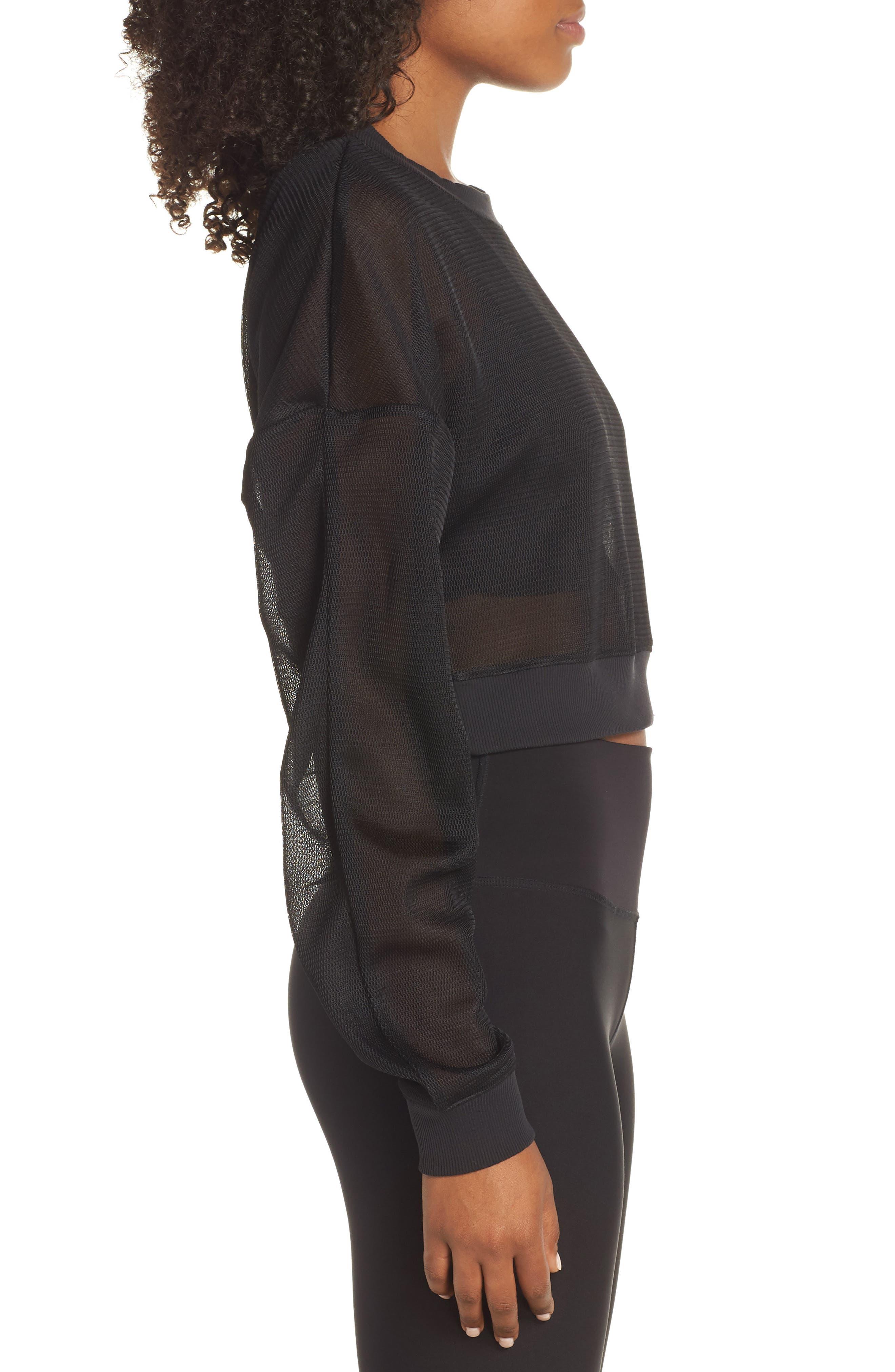 ALO, Row Long Sleeve Sweatshirt, Alternate thumbnail 3, color, BLACK