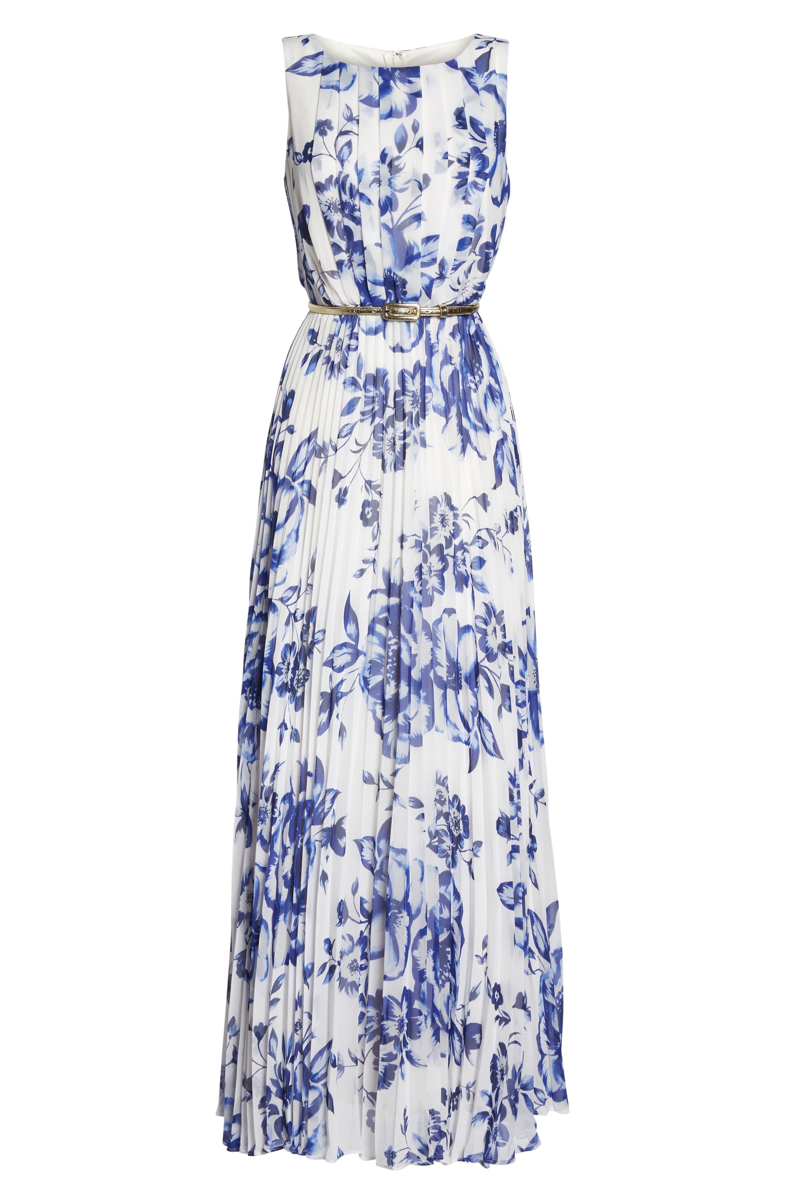 ELIZA J, Pleated Floral Chiffon Maxi Dress, Alternate thumbnail 7, color, COBALT