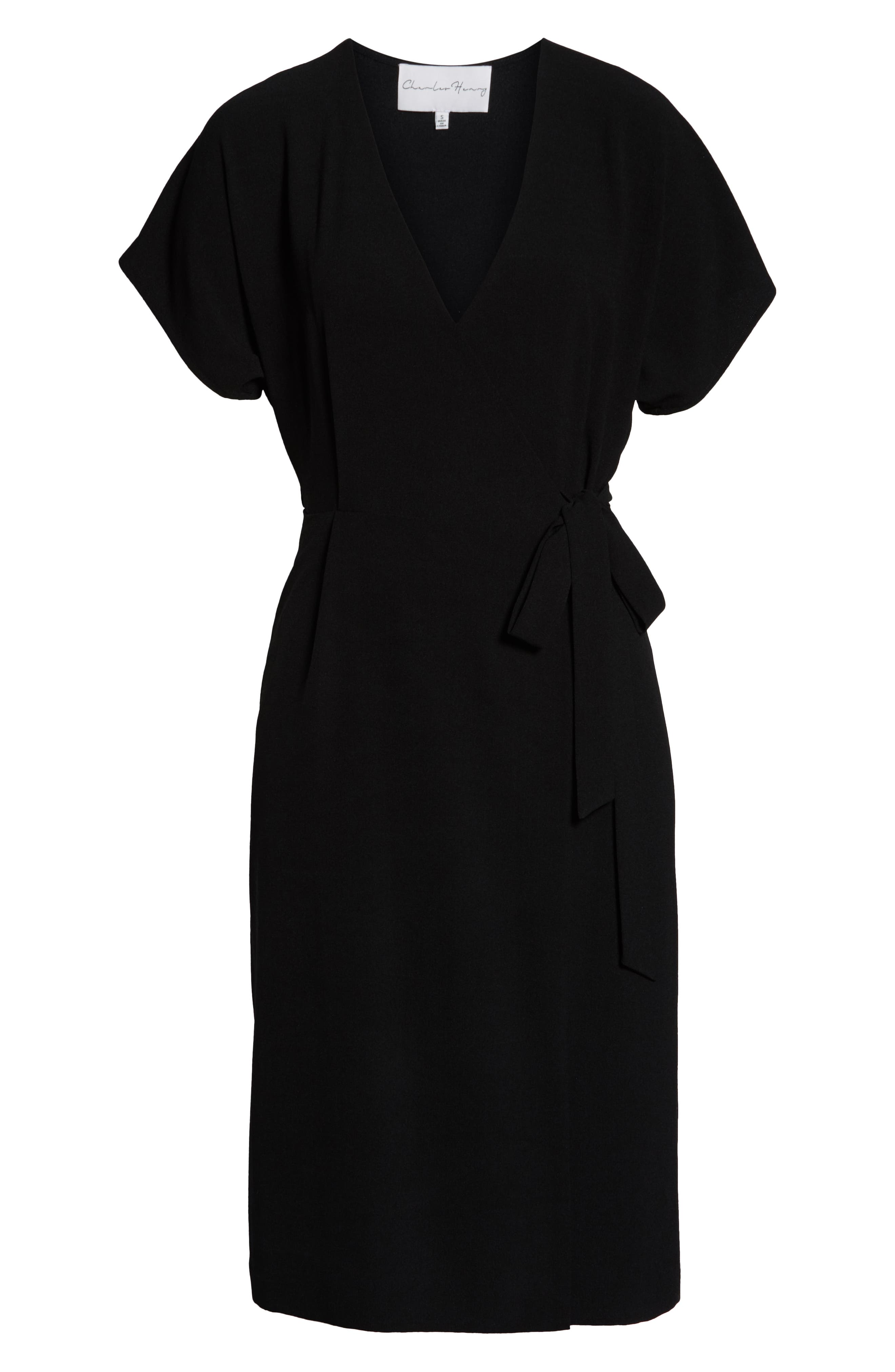 CHARLES HENRY, Faux Wrap Dress, Alternate thumbnail 7, color, BLACK