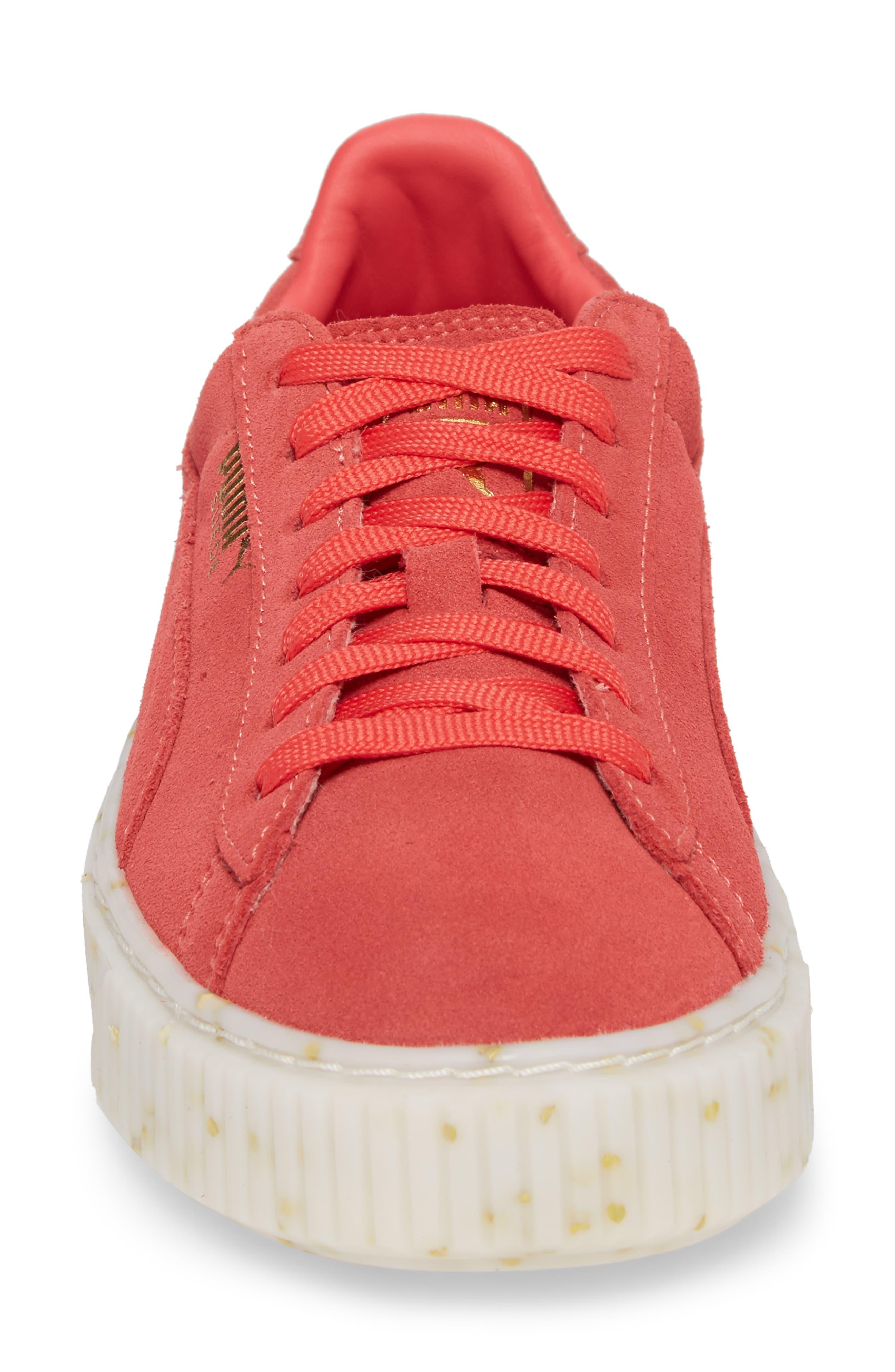 PUMA, Suede Platform Sneaker, Alternate thumbnail 4, color, PARADISE PINK/ TEAM GOLD