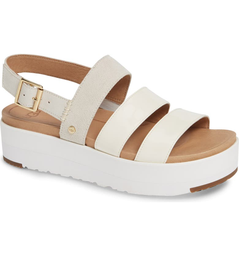 fc34e56075f Ugg Braelynn Flatform Sandal In White Leather