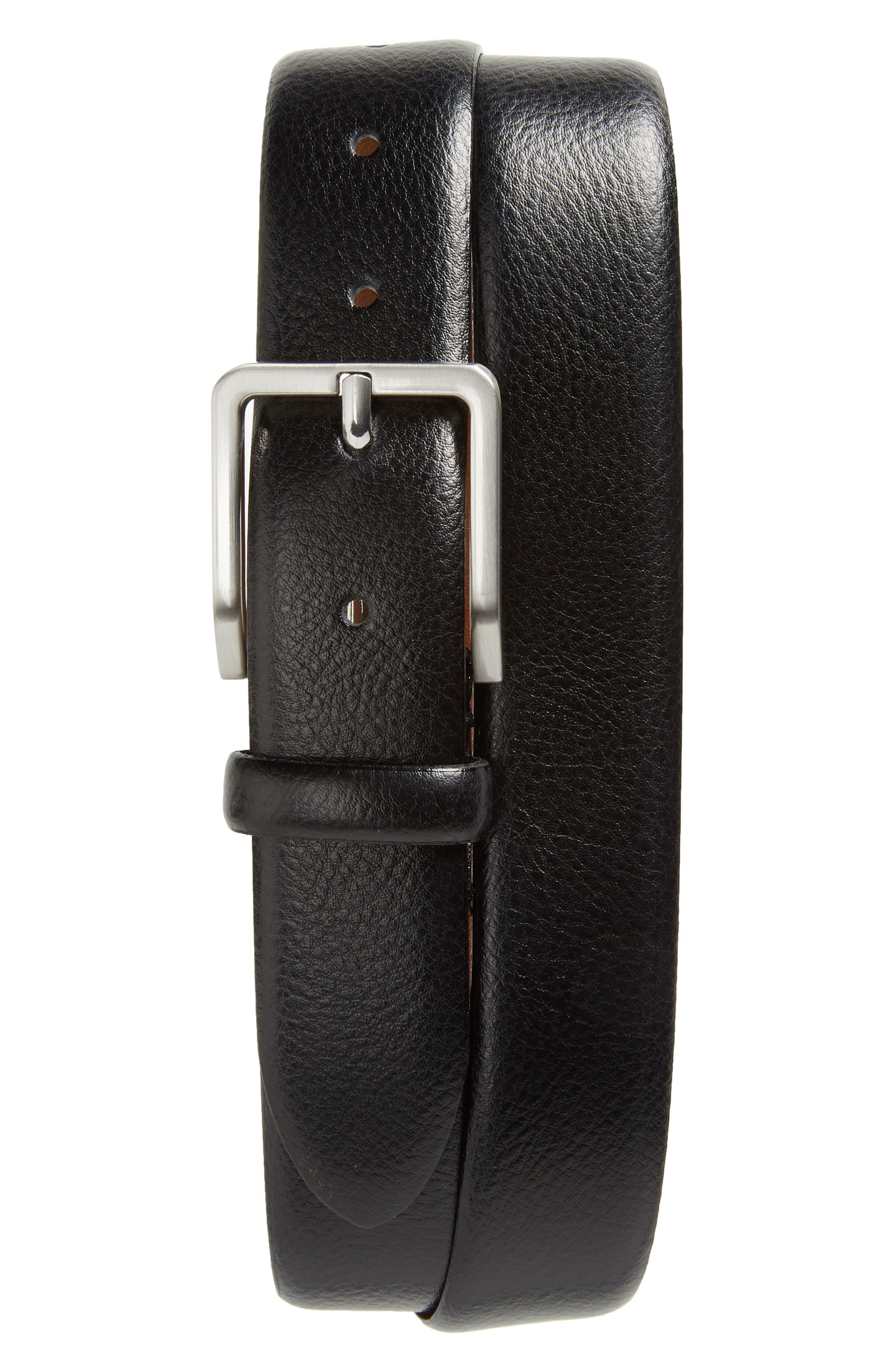 JOHNSTON & MURPHY, Leather Belt, Main thumbnail 1, color, BLACK