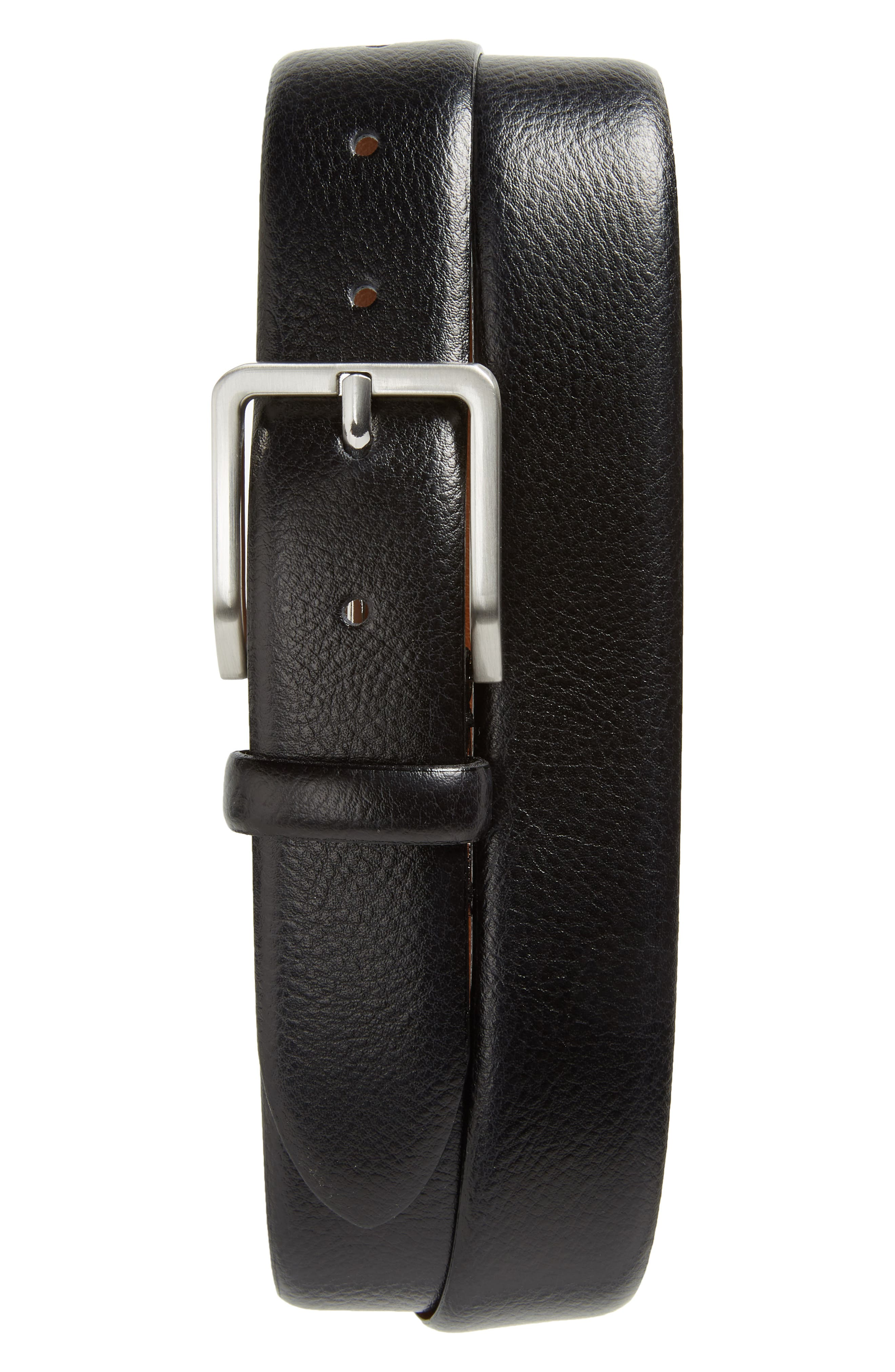 JOHNSTON & MURPHY Leather Belt, Main, color, BLACK