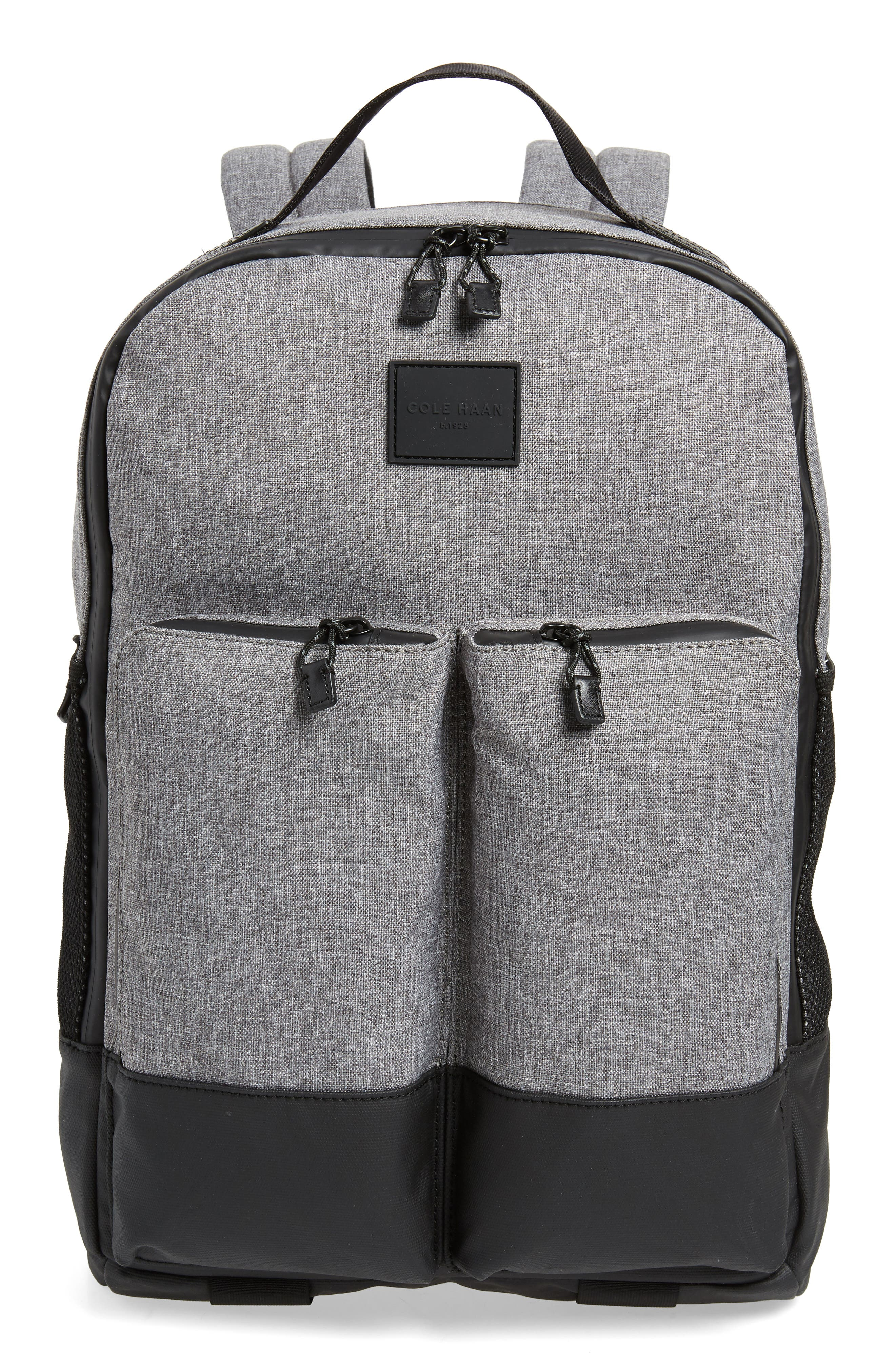 COLE HAAN Sawyer Trail Backpack, Main, color, HEATHERED GREY