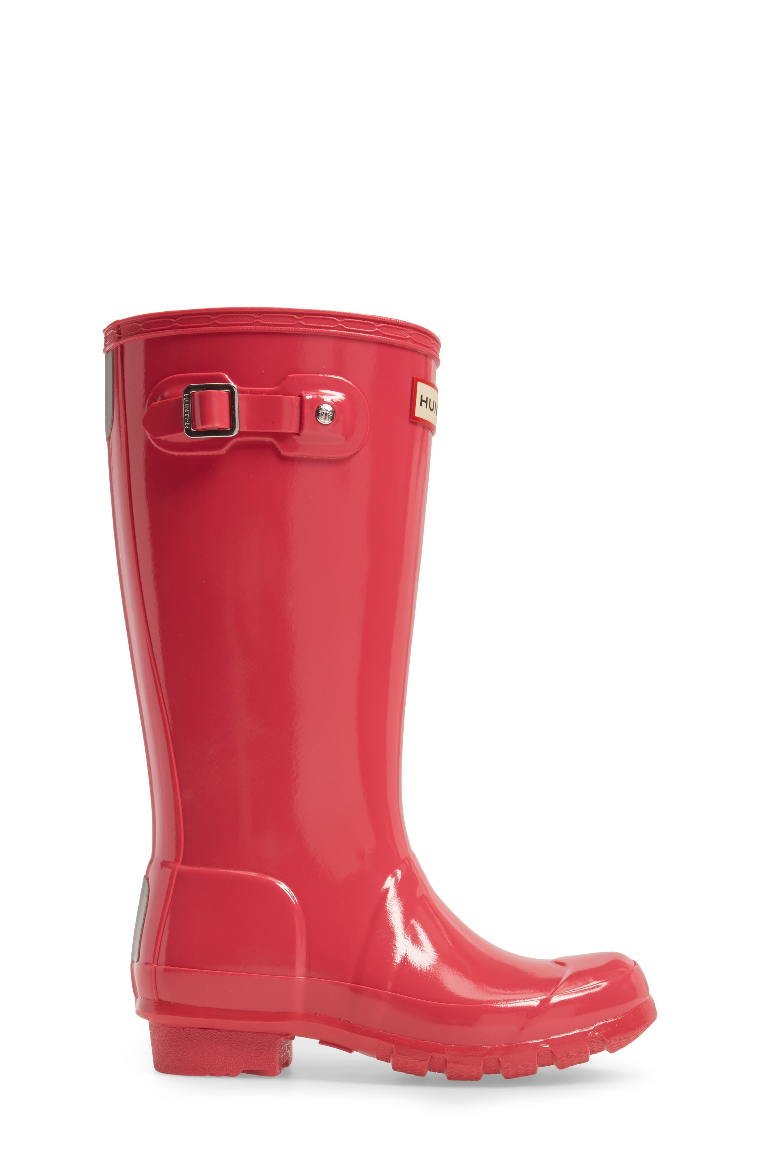HUNTER, Original Gloss Rain Boot, Alternate thumbnail 3, color, BRIGHT PINK
