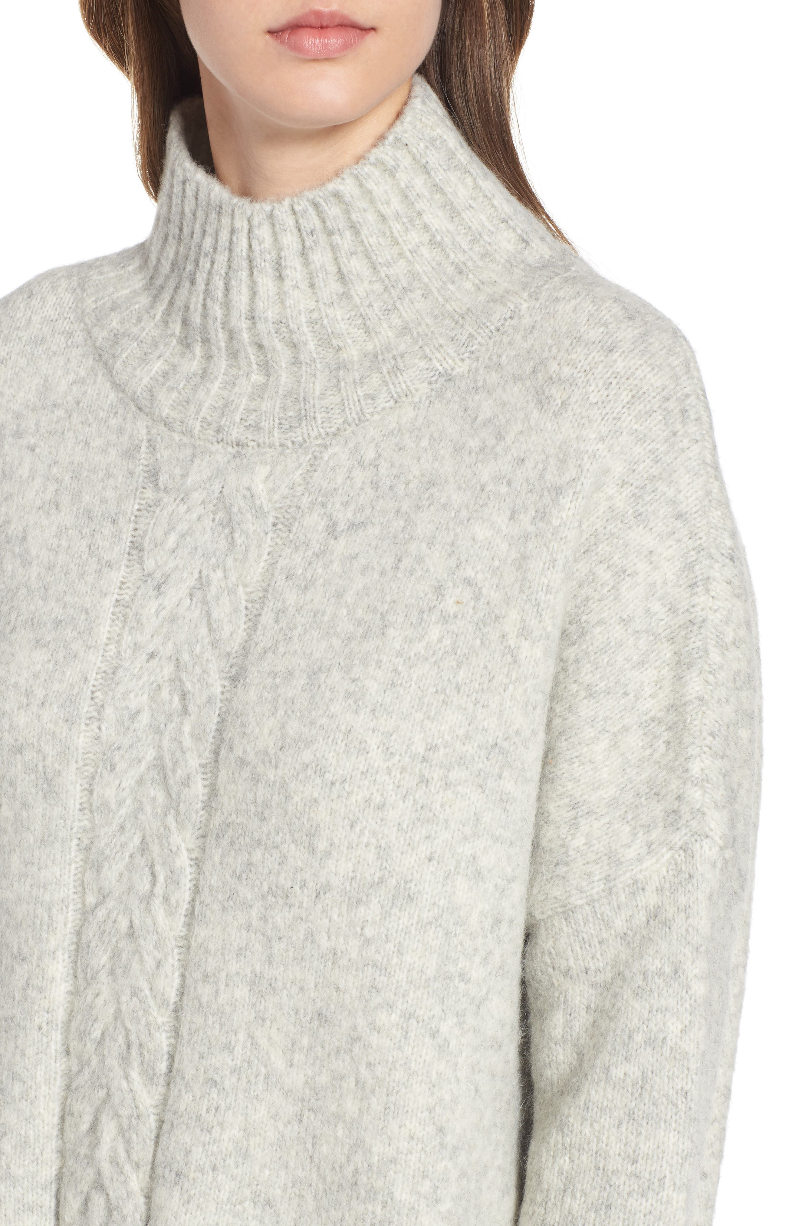 FRENCH CONNECTION, Ora Knit Pullover, Alternate thumbnail 4, color, LIGHT GREY MEL