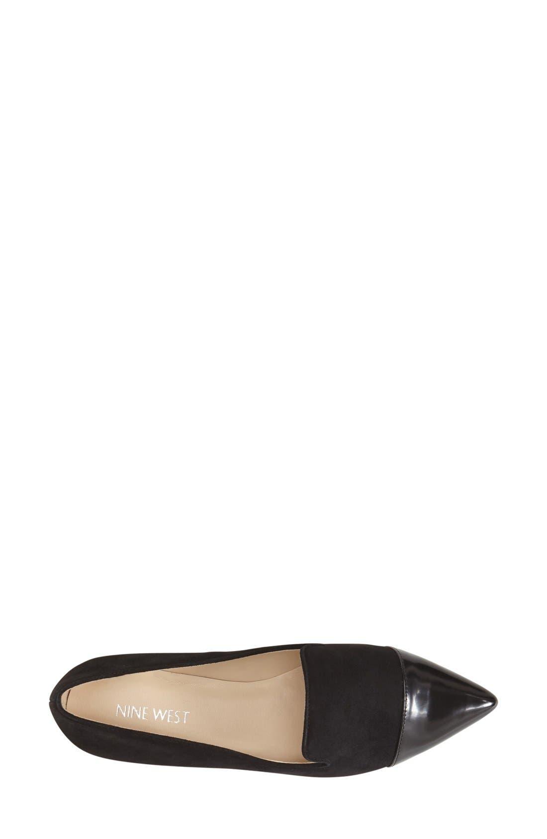 NINE WEST, 'Trainer' Cap Toe Loafer, Alternate thumbnail 3, color, 001