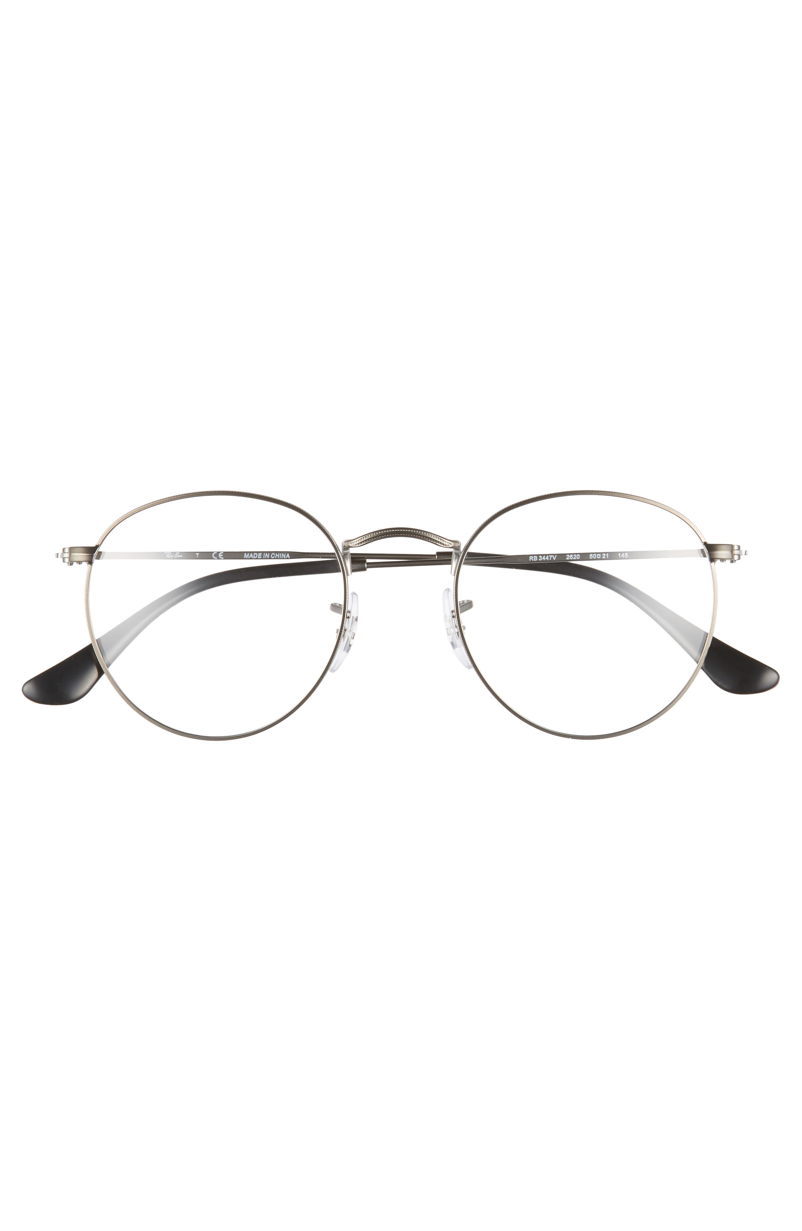 RAY-BAN, 50mm Round Optical Glasses, Alternate thumbnail 3, color, MATTE GUNMETAL