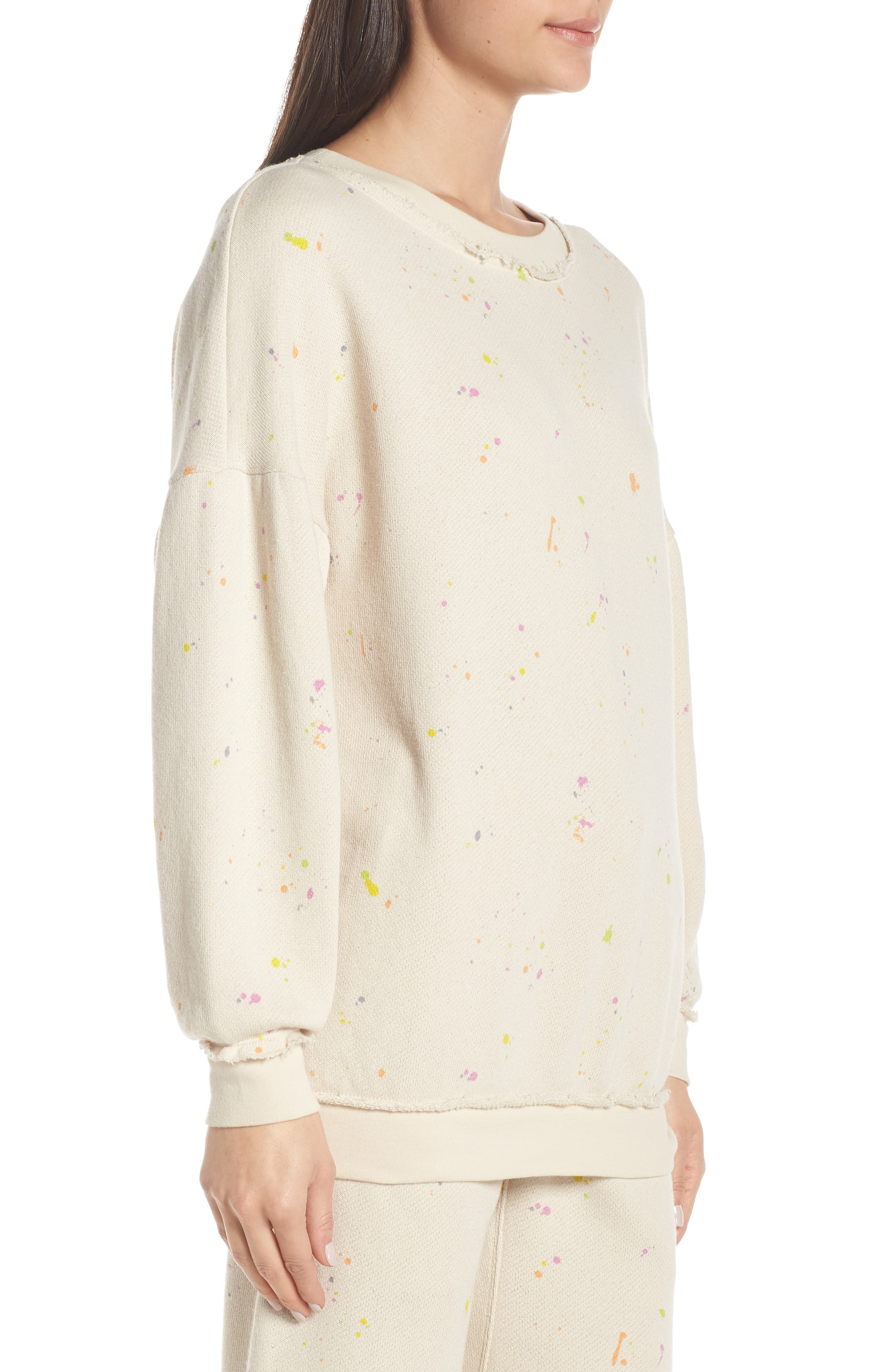 FREE PEOPLE MOVEMENT, Make It Count Printed Sweatshirt, Alternate thumbnail 4, color, IVORY