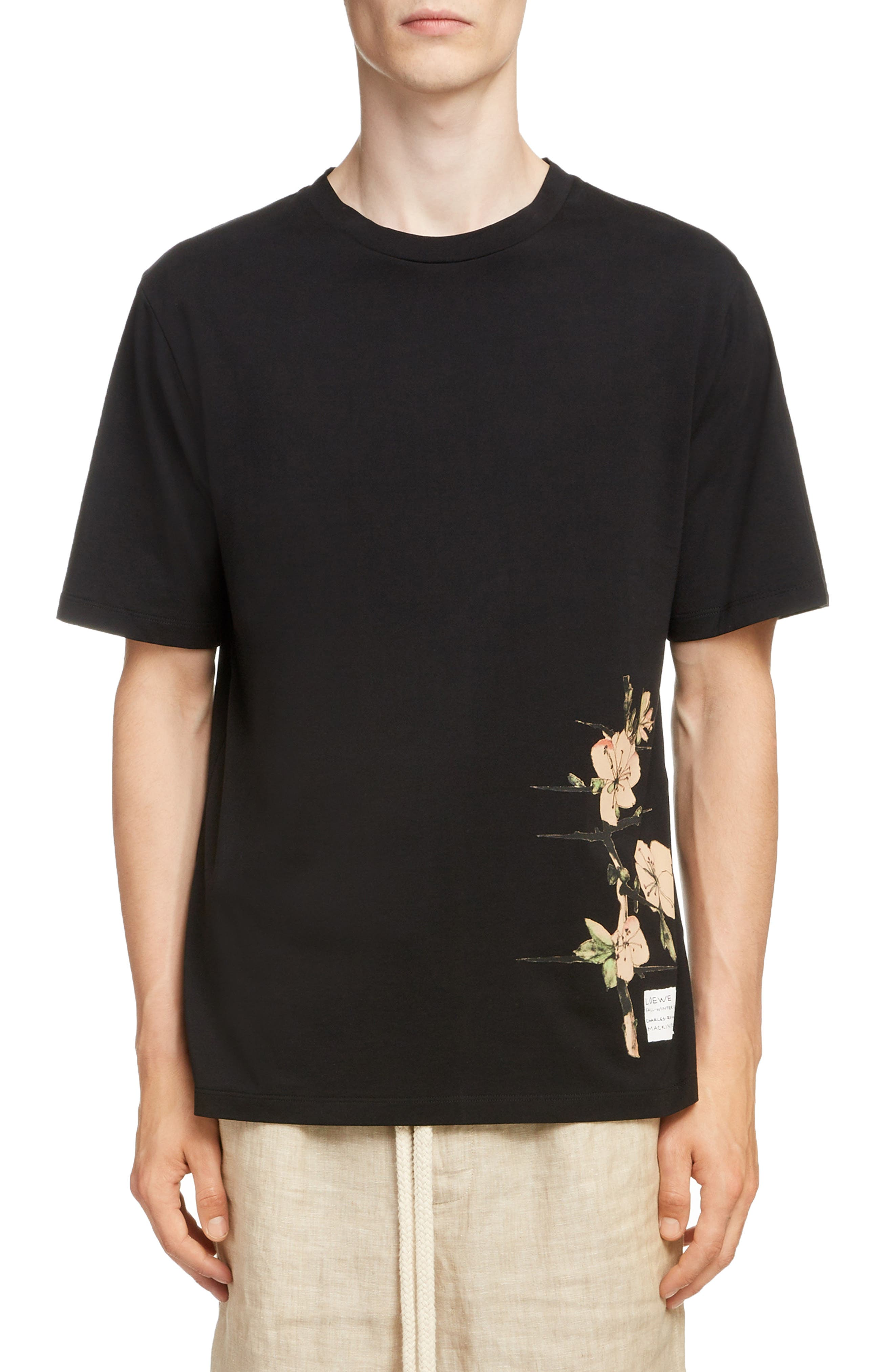 LOEWE, Charles Rennie Mackintosh Collection Botanical Print T-Shirt, Main thumbnail 1, color, 1100-BLACK