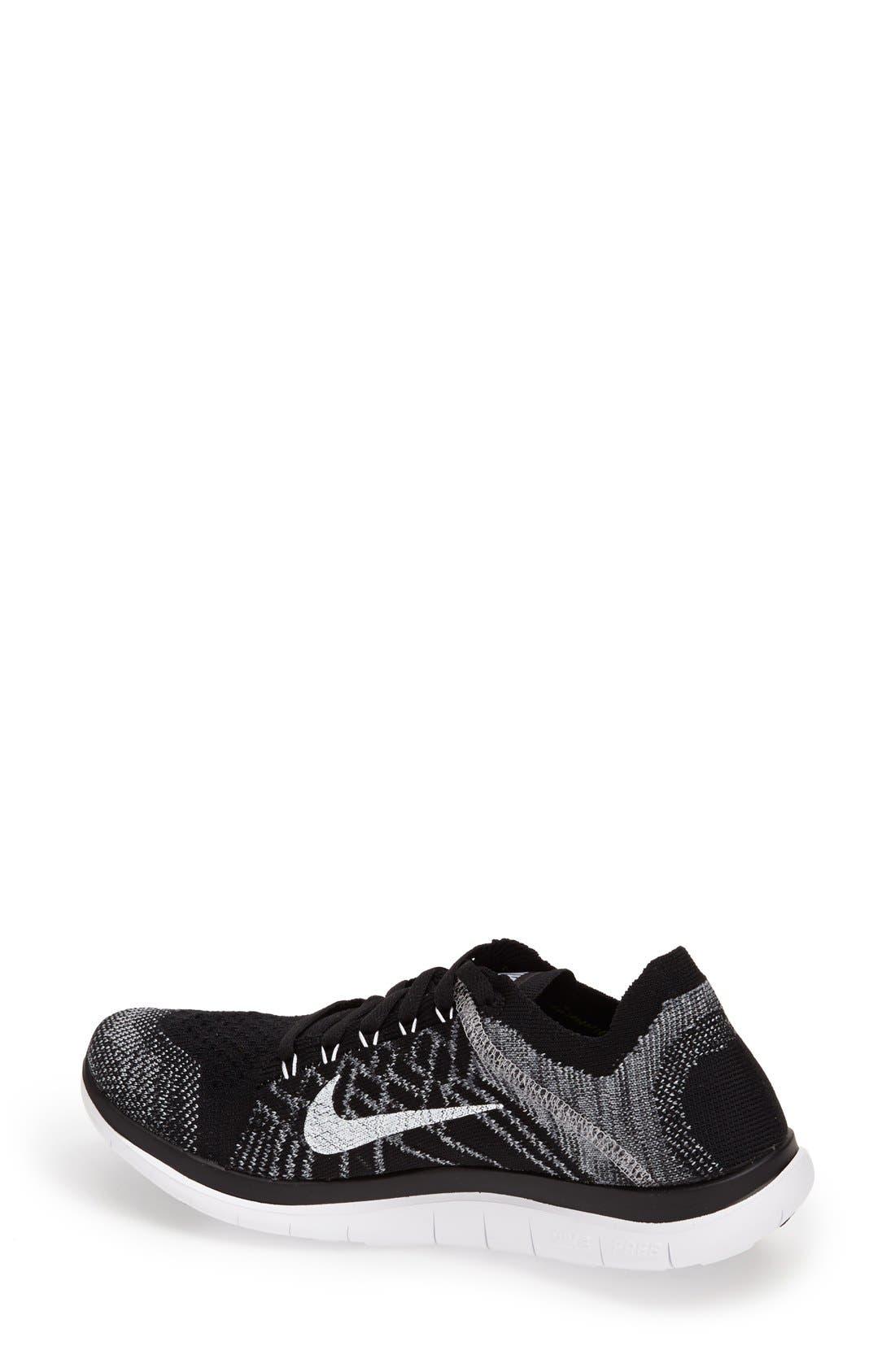 NIKE, 'Free 4.0 Flyknit' Running Shoe, Alternate thumbnail 2, color, 001