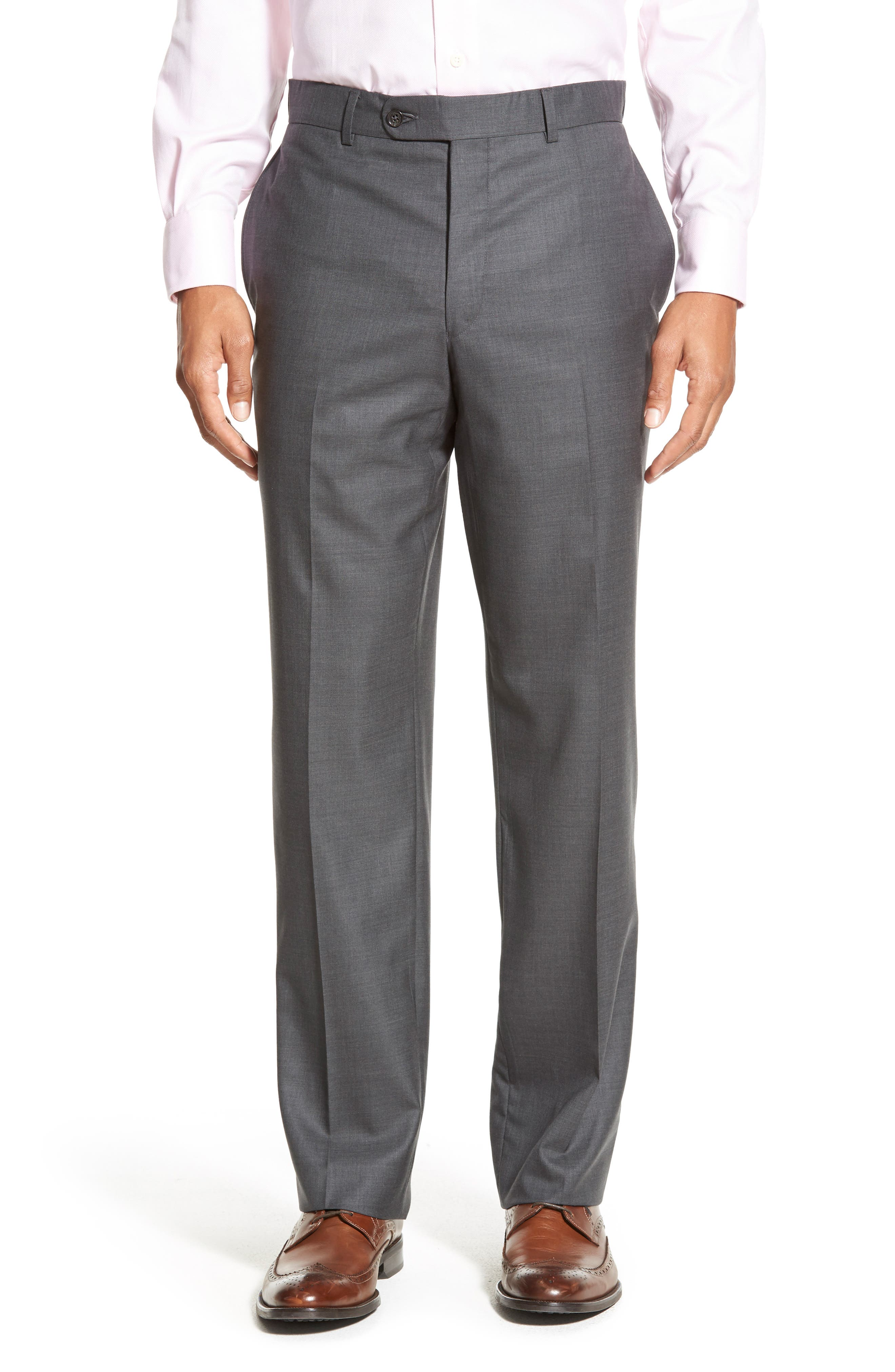 DAVID DONAHUE Ryan Classic Fit Solid Wool Suit, Main, color, GREY