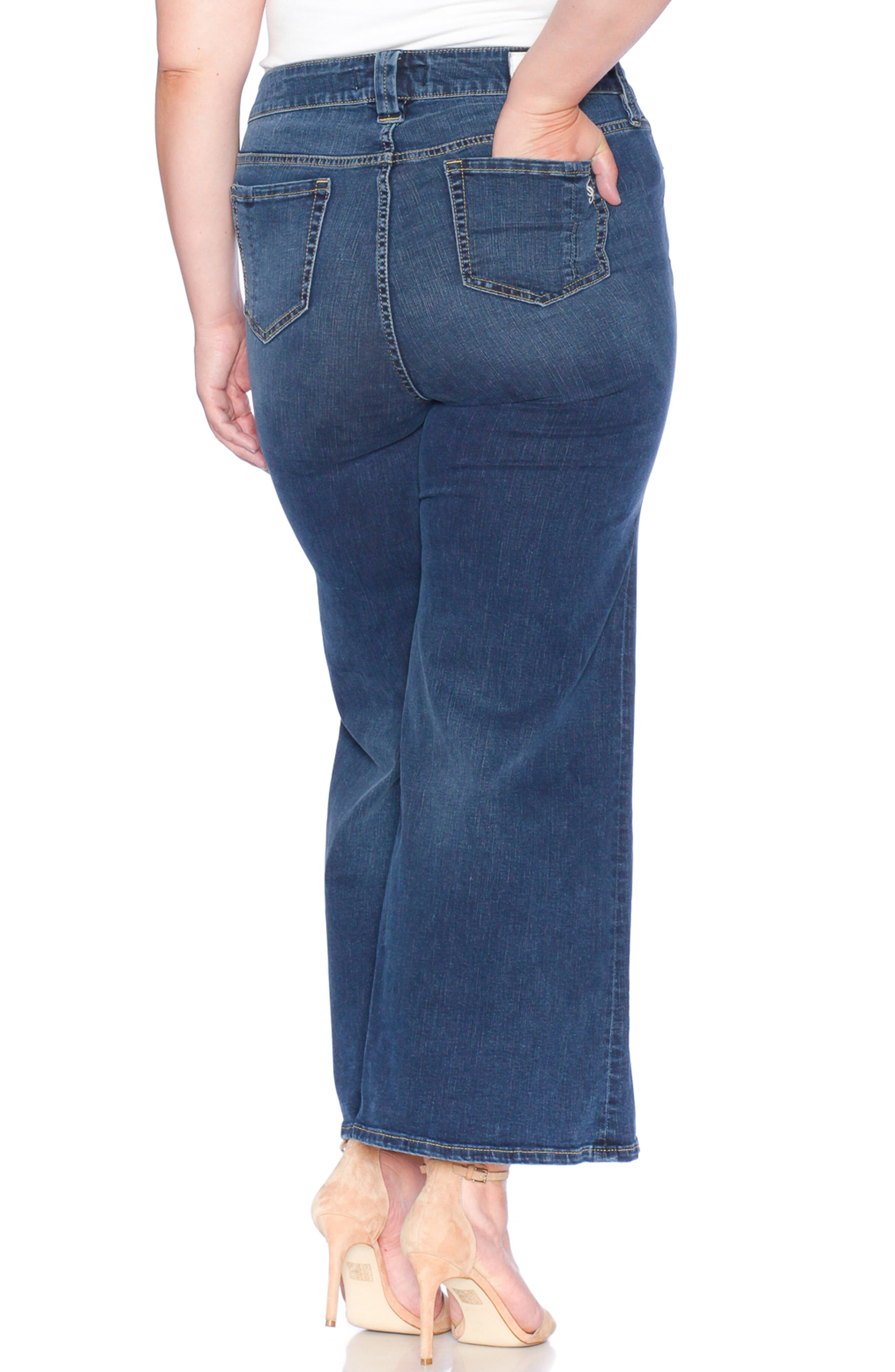 SLINK JEANS, SLINK High Waist Wide Leg Crop Jeans, Alternate thumbnail 2, color, HEATHER