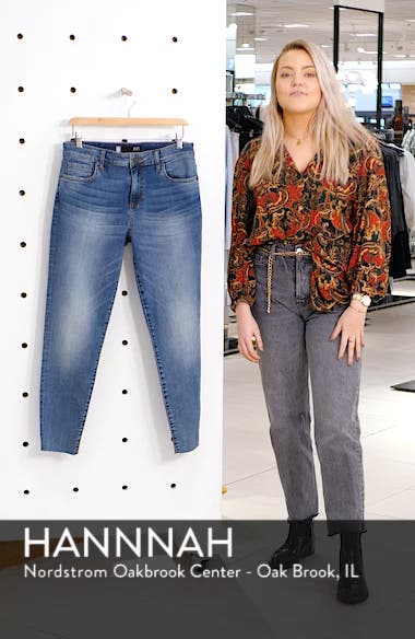 Donna High Waist Raw Hem Skinny Jeans, sales video thumbnail