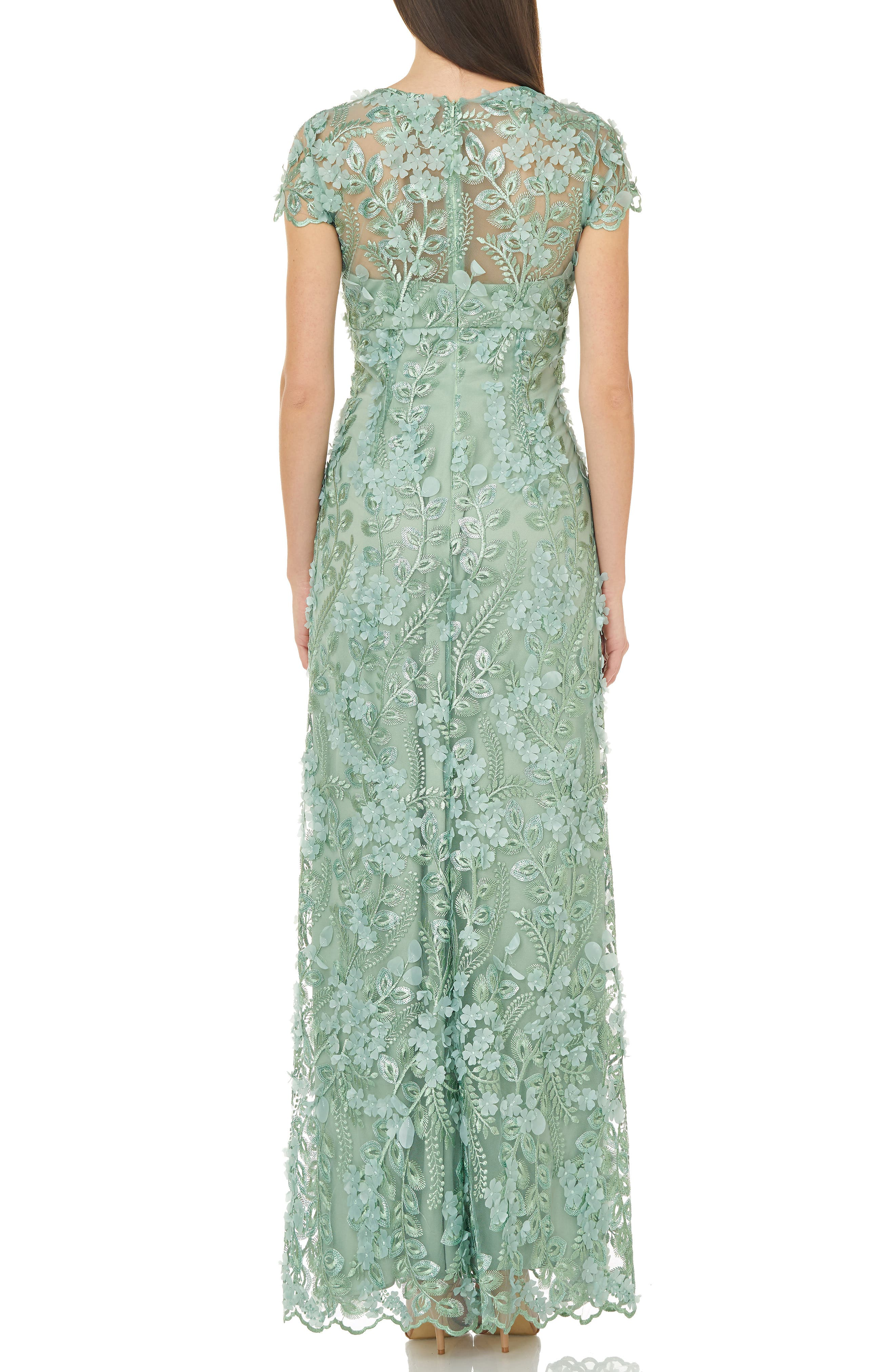 CARMEN MARC VALVO INFUSION, Petals Embellished Gown, Alternate thumbnail 2, color, CELADON