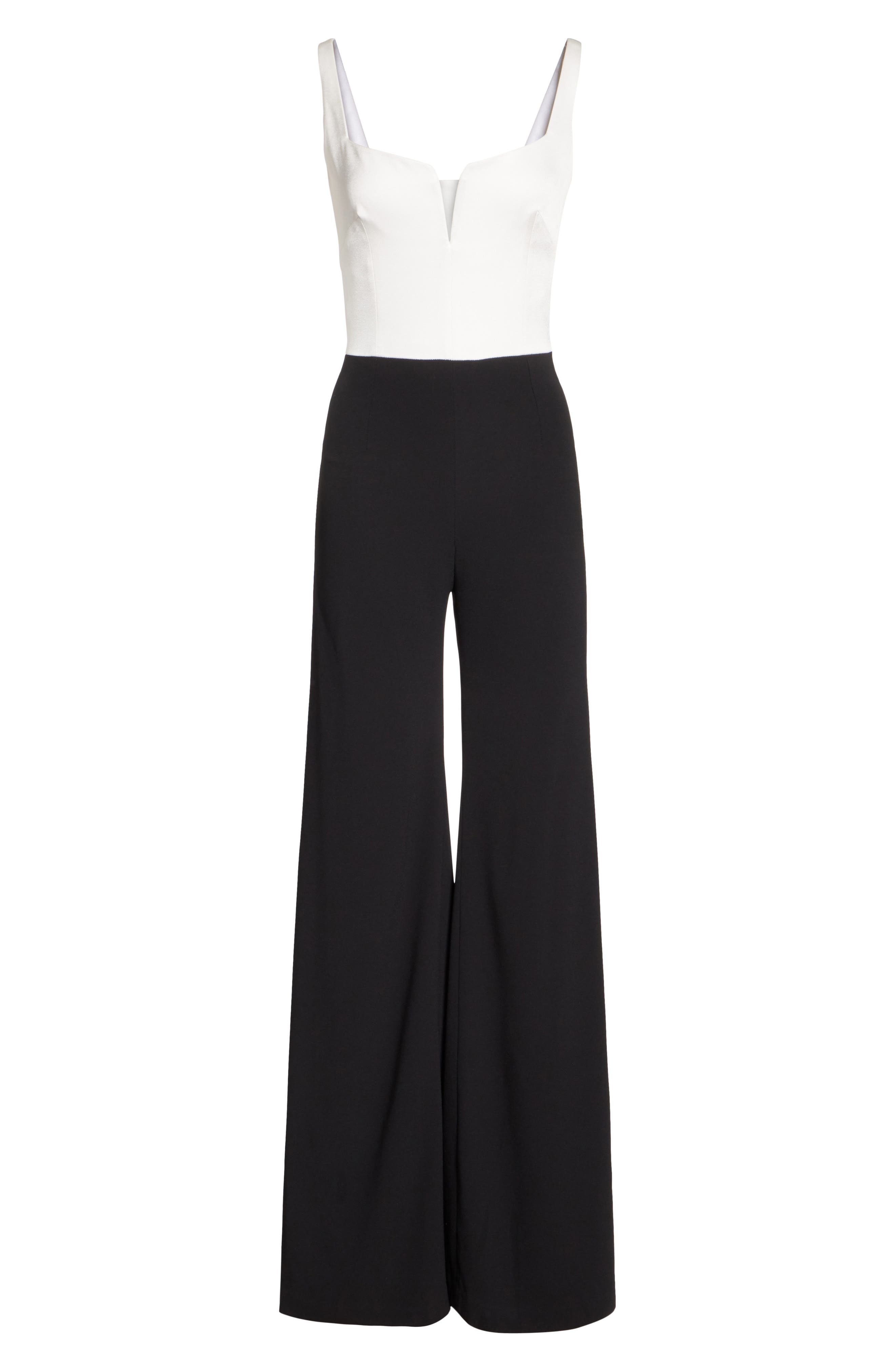 GALVAN, Eclipse Satin & Matte Crepe Jumpsuit, Alternate thumbnail 7, color, WHITE/ BLACK