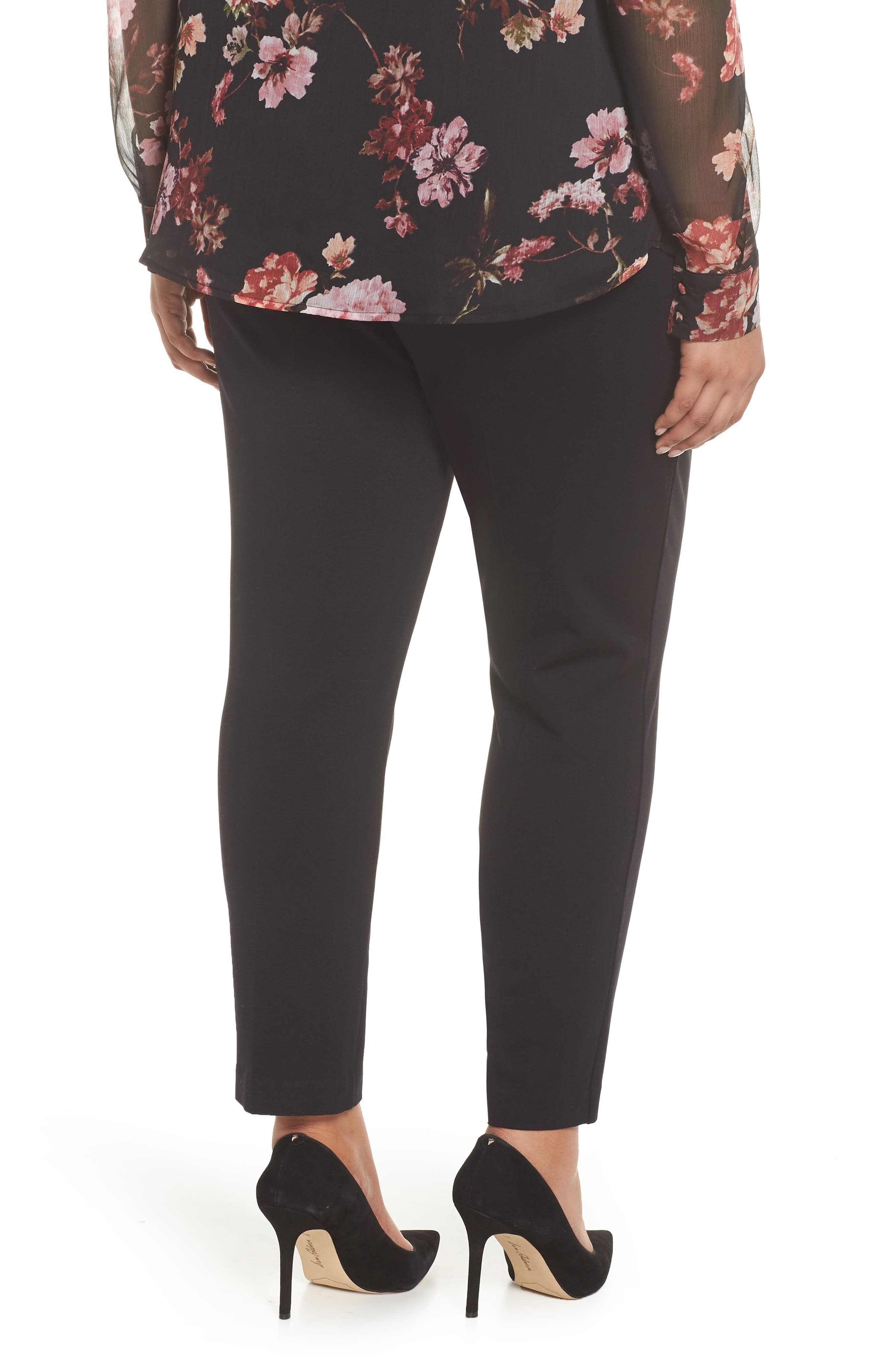 VINCE CAMUTO, High Rise Ankle Skinny Ponte Pants, Alternate thumbnail 2, color, RICH BLACK