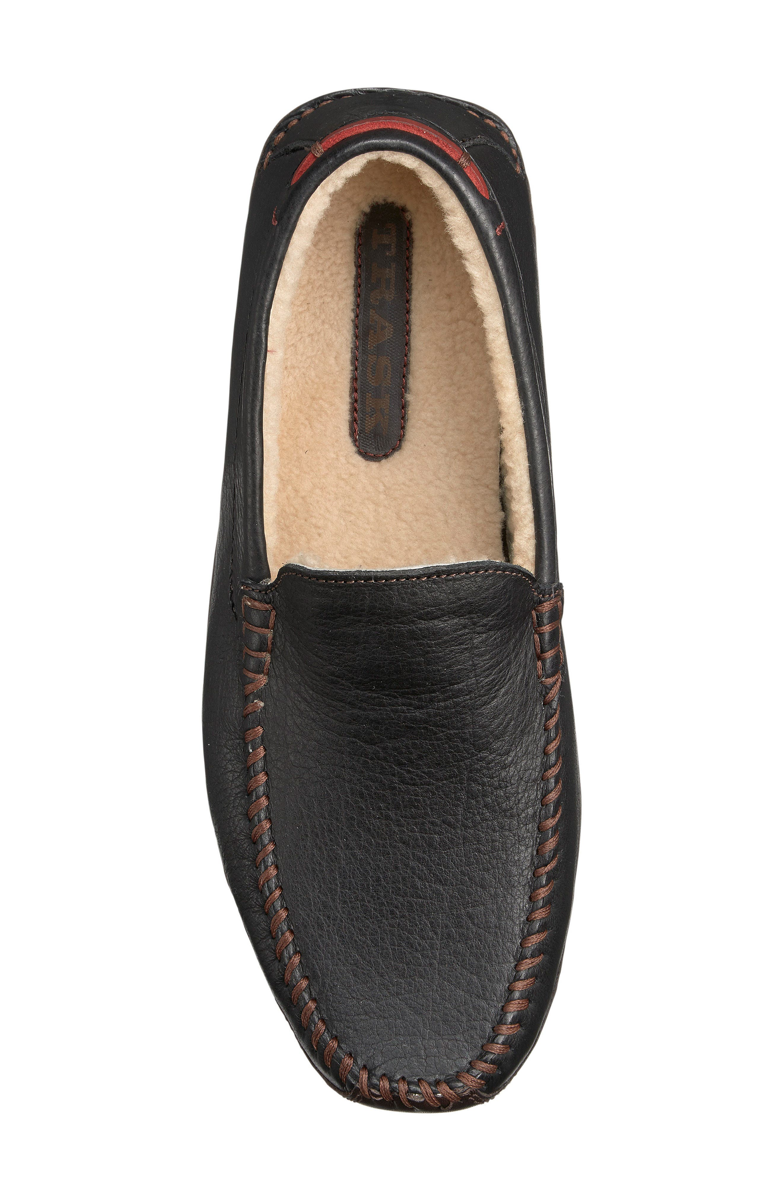 TRASK, Denton Driving Shoe with Genuine Shearling, Alternate thumbnail 3, color, BLACK LEATHER/ SHEARLING