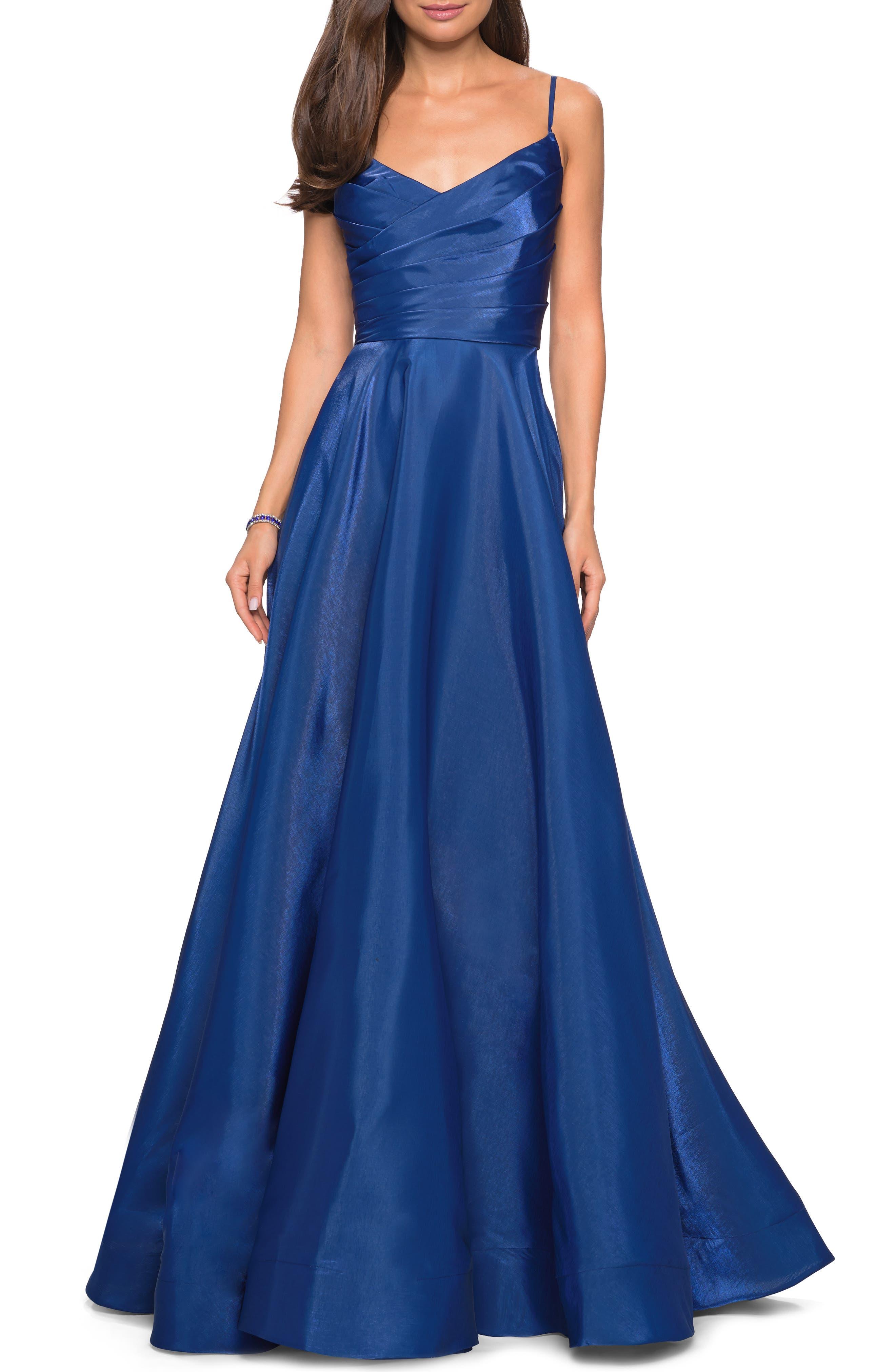 La Femme Pleated Wrap Bodice Evening Dress, Blue
