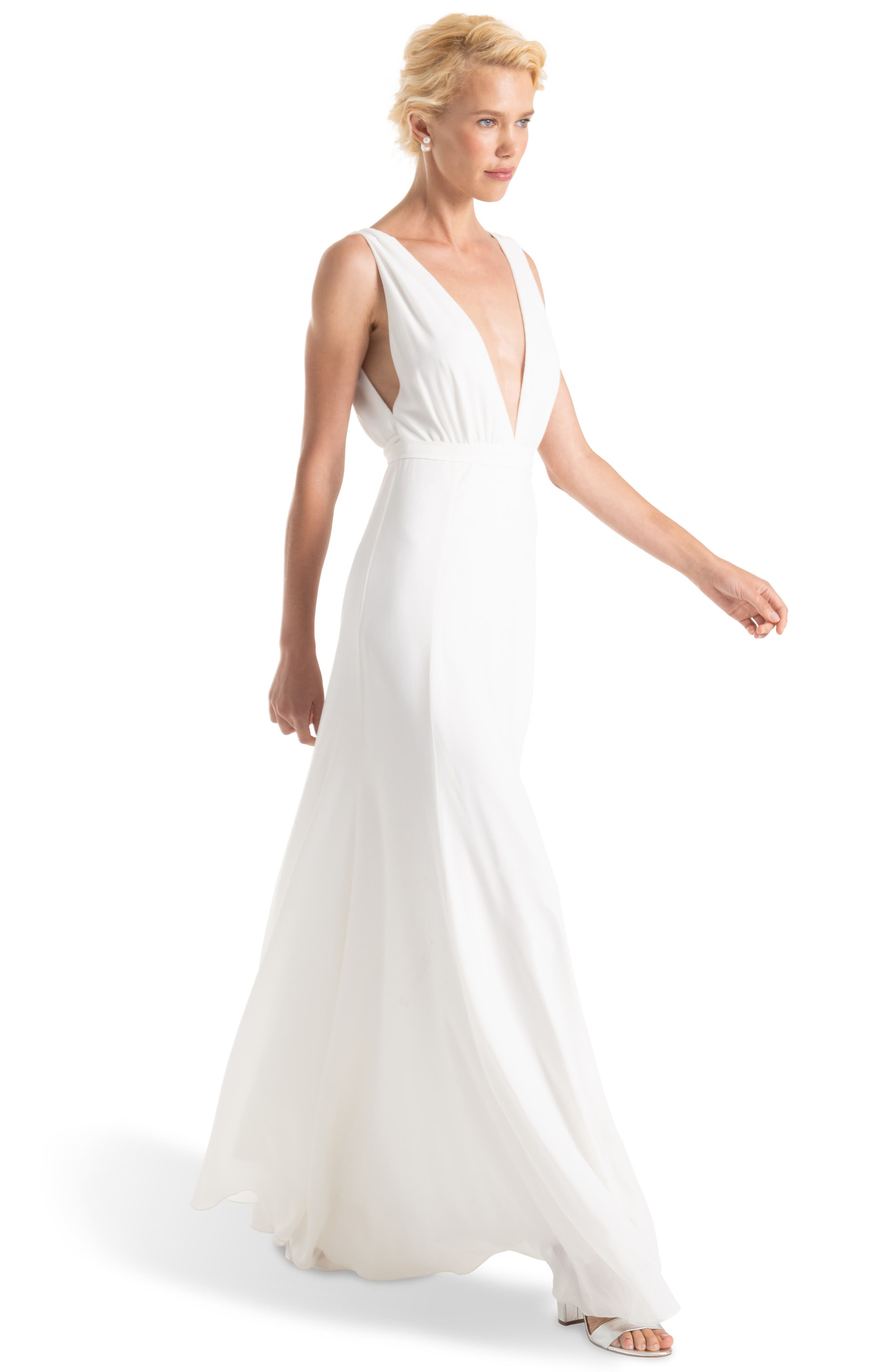 JOANNA AUGUST, Jagger Plunging Wrap Dress, Alternate thumbnail 3, color, WHITE