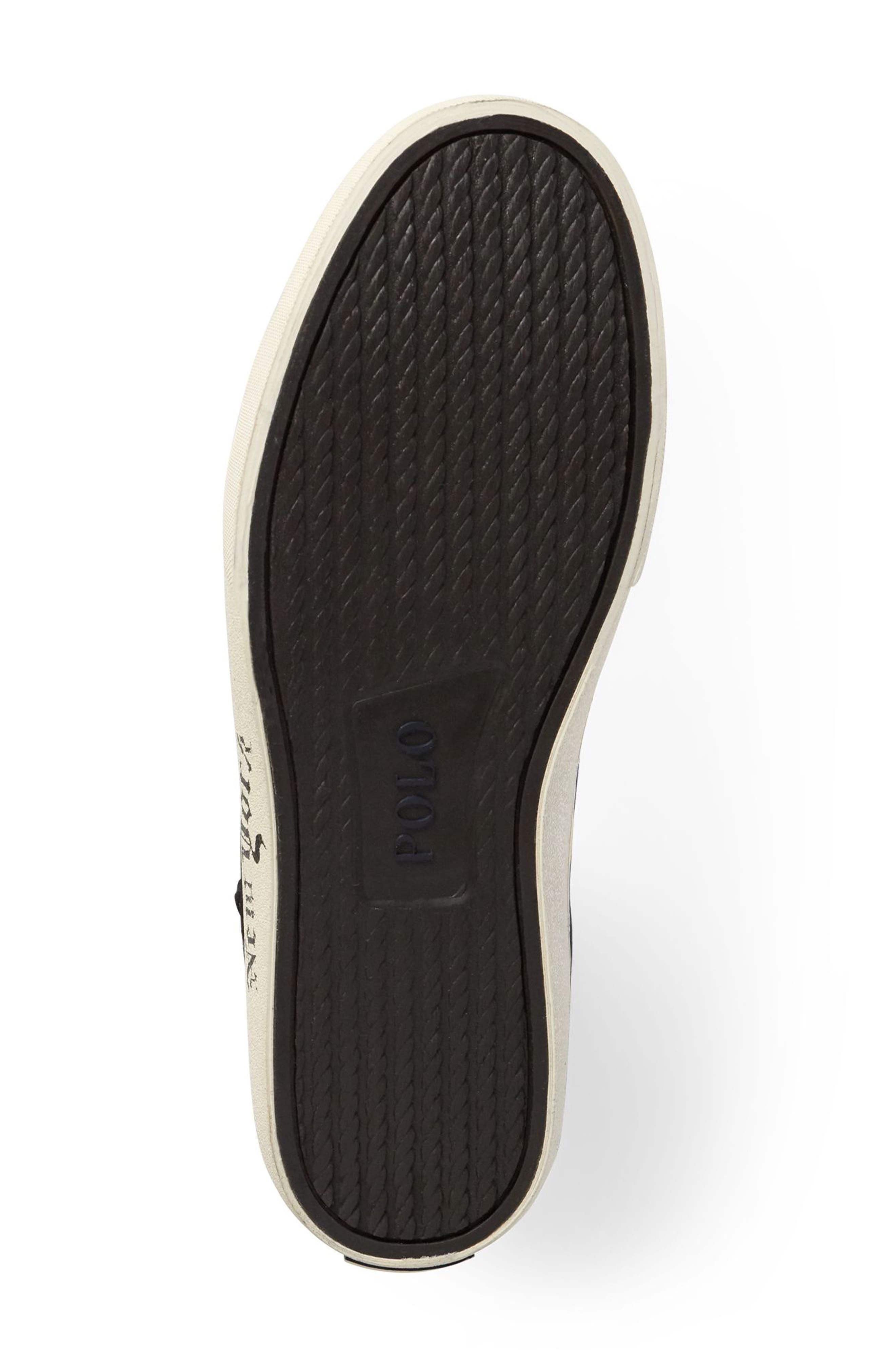 POLO RALPH LAUREN, Solomon II Sneaker, Alternate thumbnail 4, color, MULTI BLACK/ YELLOW CANVAS