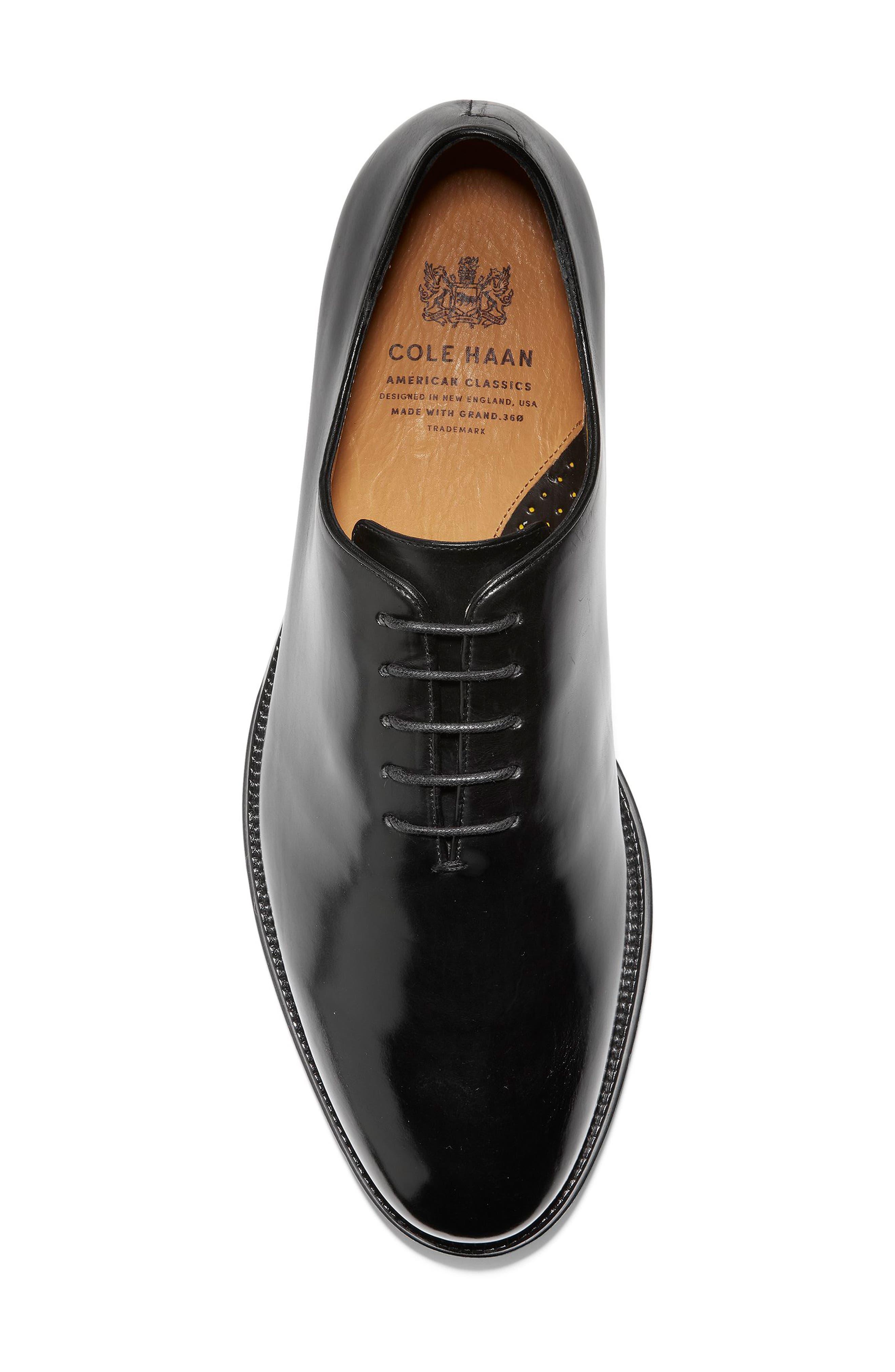 COLE HAAN, American Classics Gramercy Whole Cut Shoe, Alternate thumbnail 5, color, BLACK LEATHER