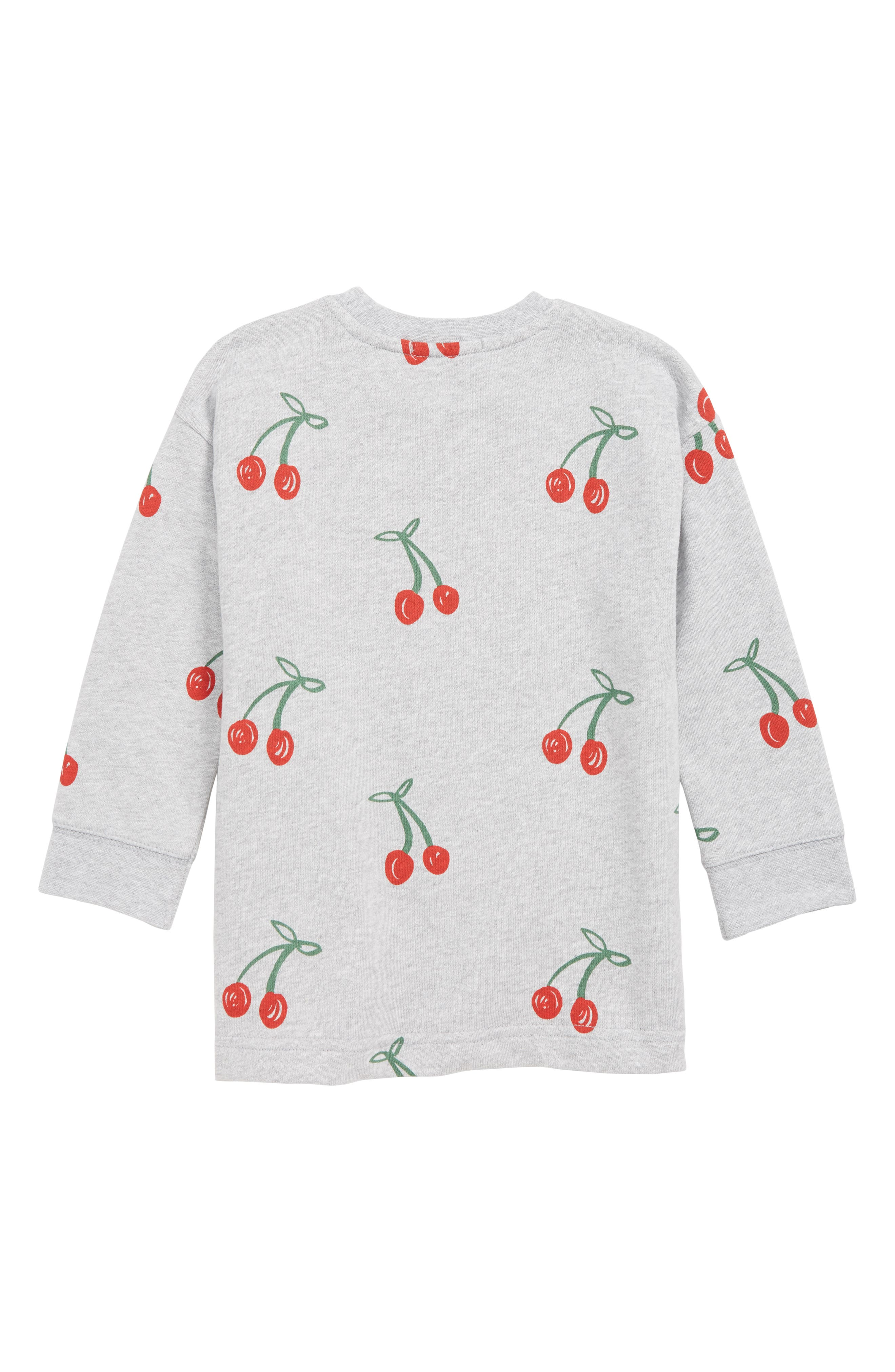 STELLA MCCARTNEY KIDS, Stella McCartney Cherry Organic Cotton Sweatshirt Dress, Alternate thumbnail 2, color, GREY